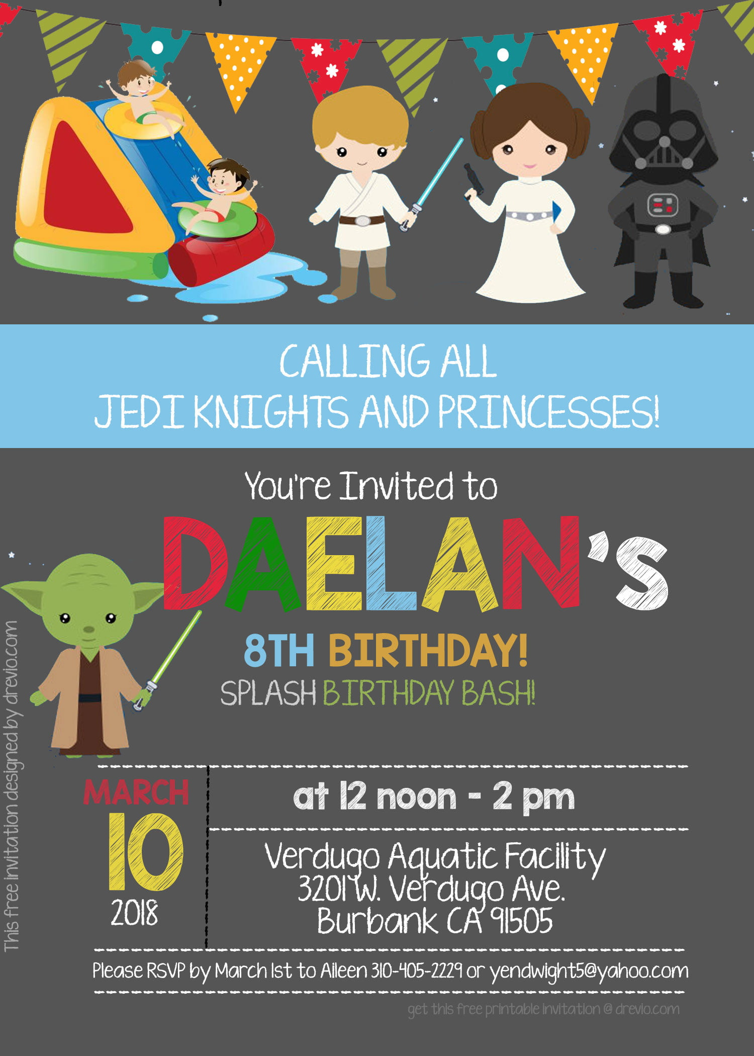 free star wars pool party invitation