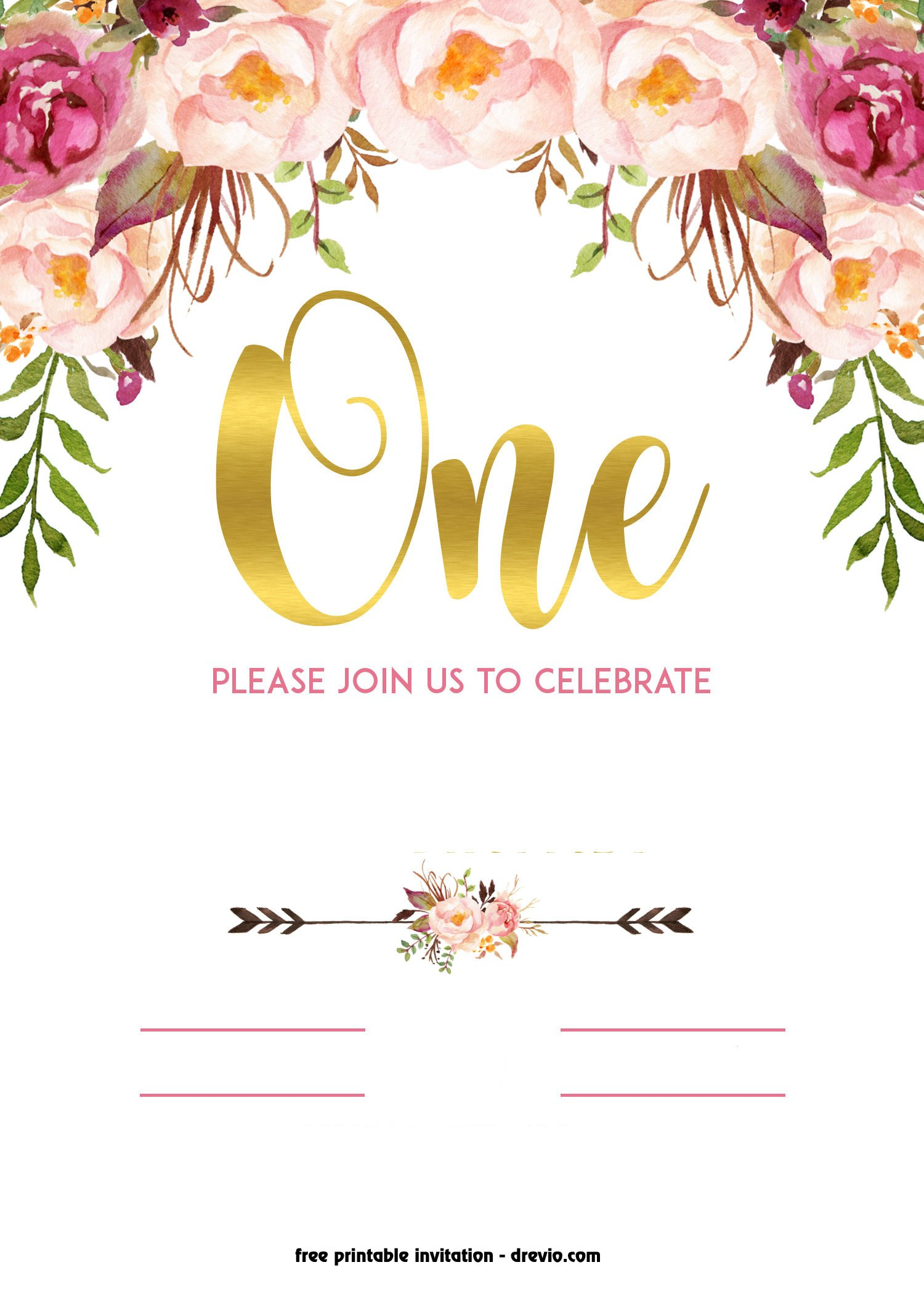 FREE Printable 1st Birthday Invitation – Vintage Style