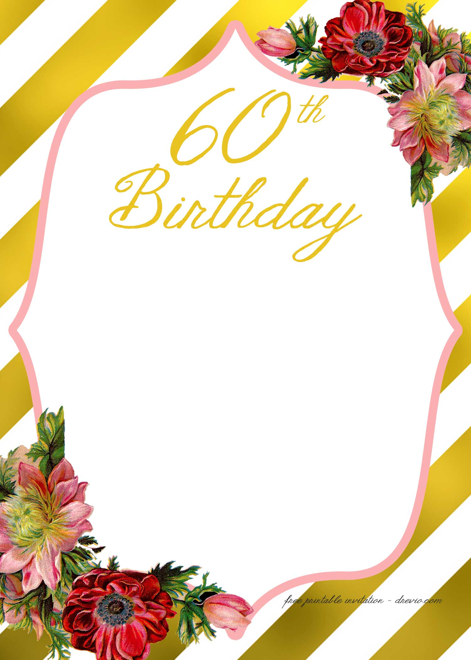 Adult Birthday Invitations Template – For 50th Years Old