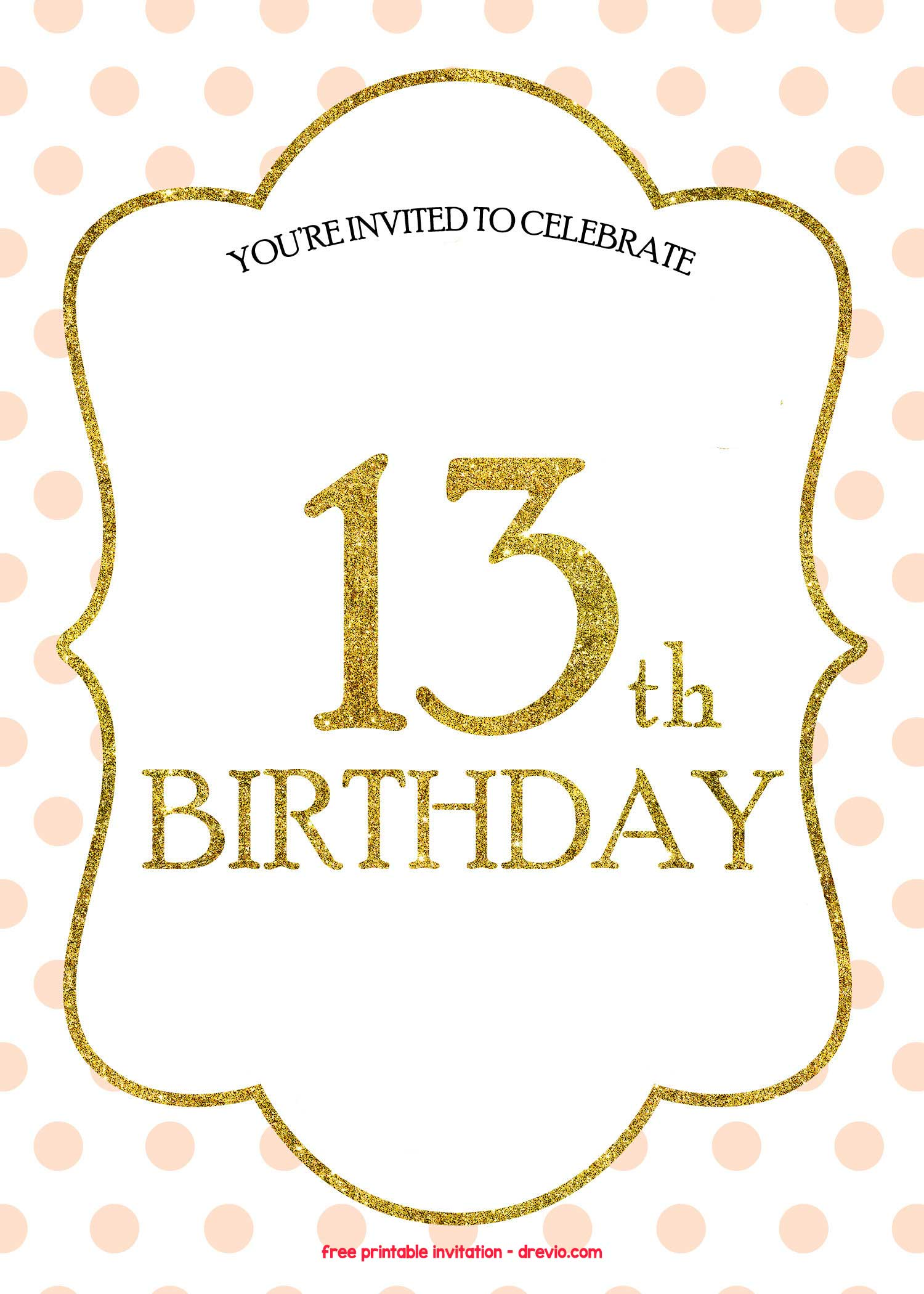 FREE 13th Birthday Invitations Templates FREE Invitation