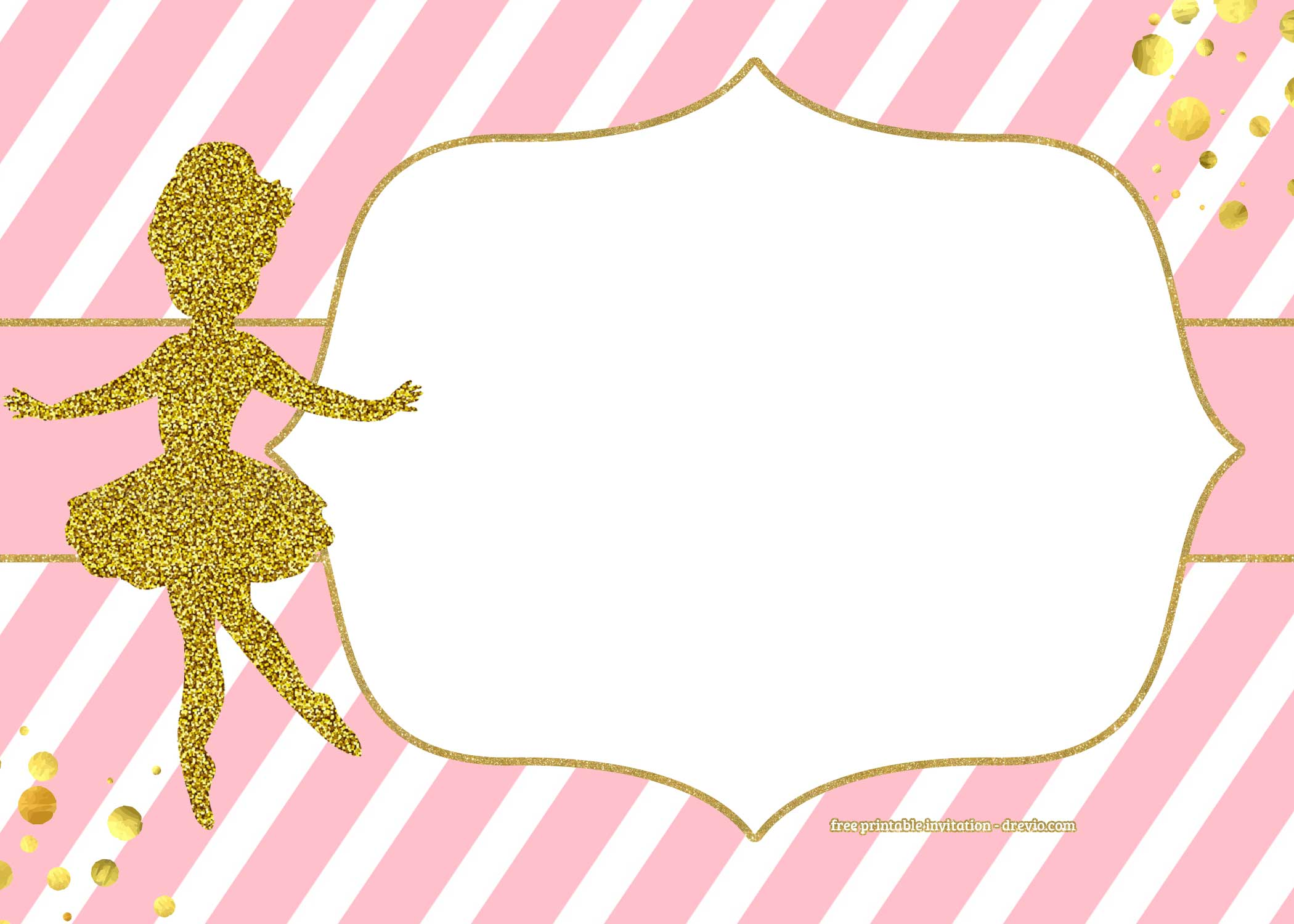 FREE Golden Ballerina Birthday Invitation Templates FREE