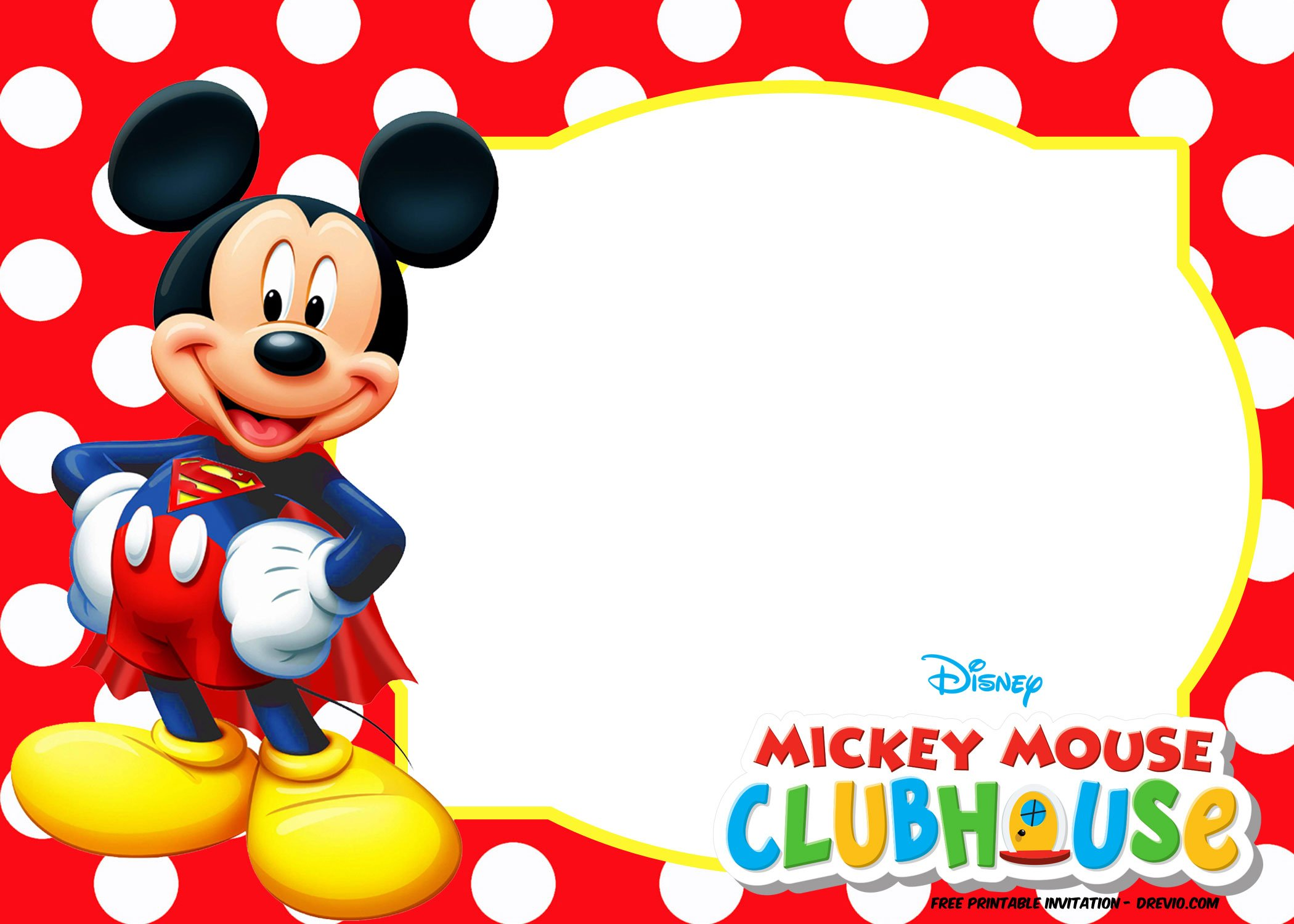 FREE Mickey Mouse Summer Birthday Invitations FREE