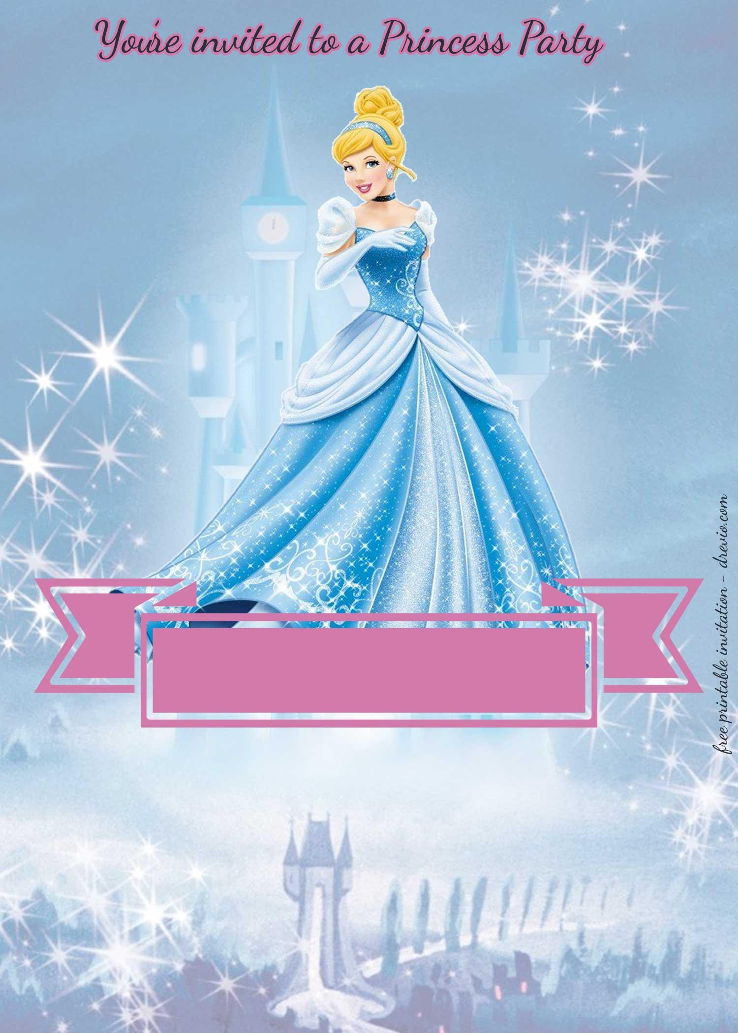 free princess party birthday invitation