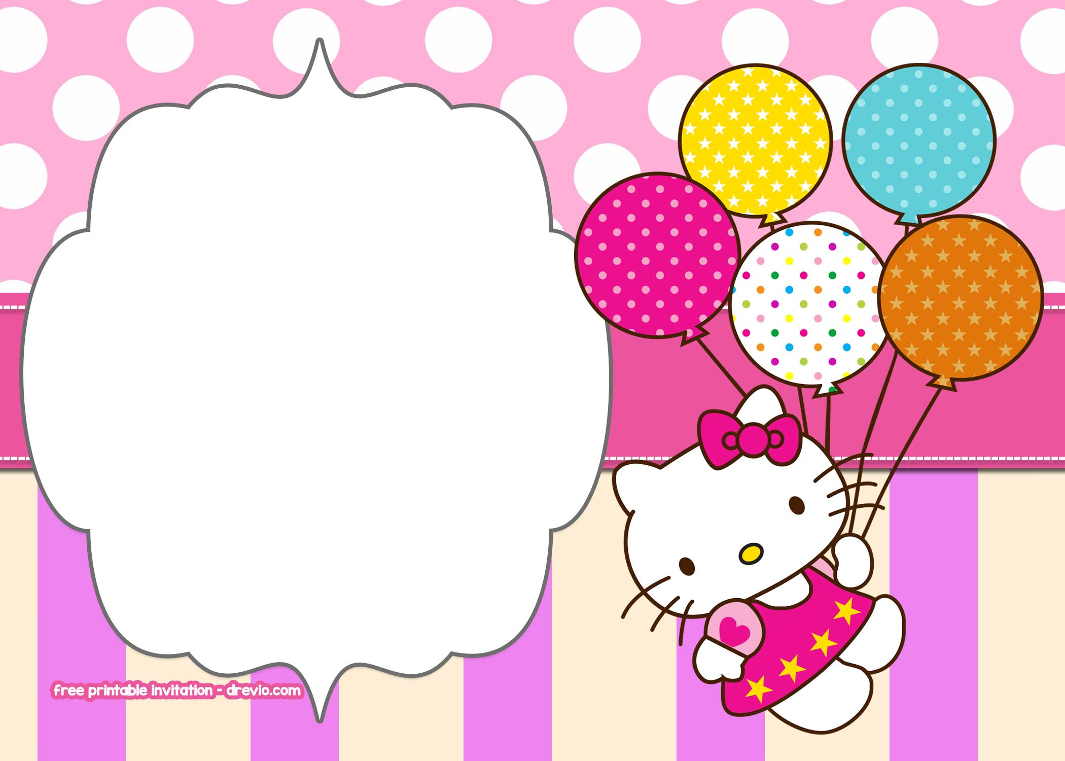 Free Printable Hello Kitty Pink Polka Dot Invitation