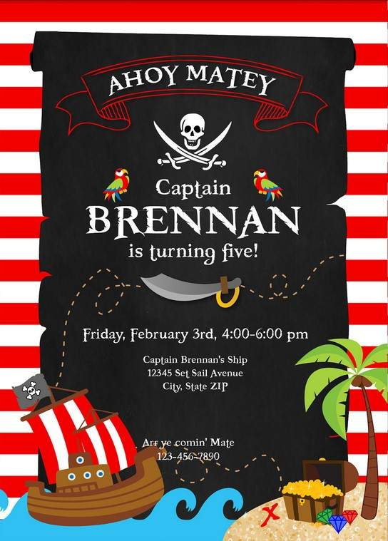 free printable pirate party invitations