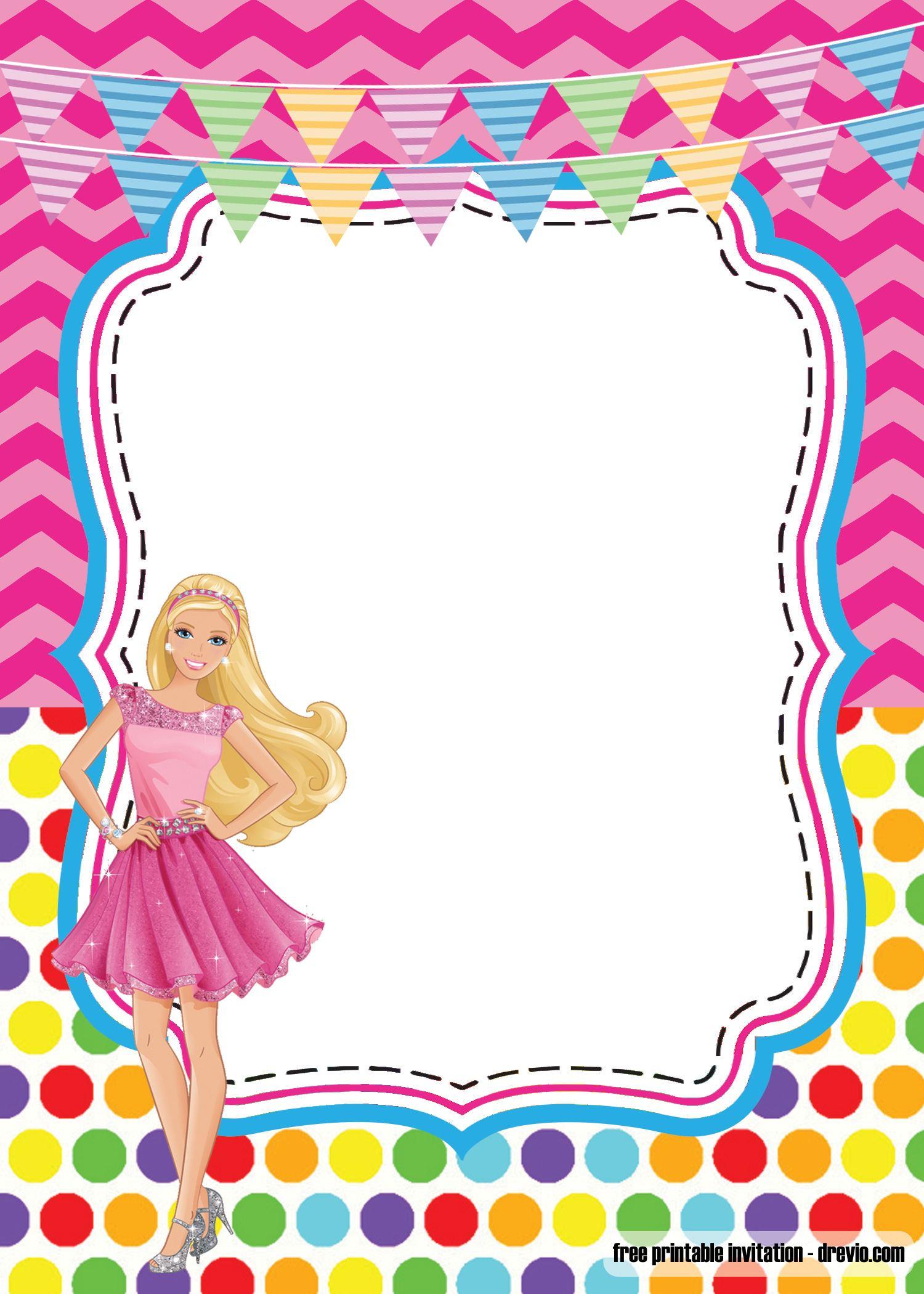 girlie birthday with barbie invitation