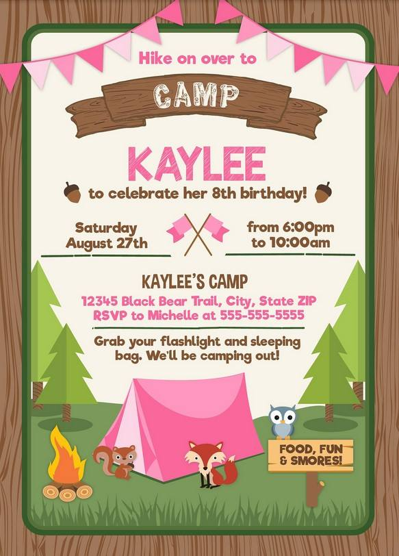 FREE Printable Camping Party Invitation For Girls Template