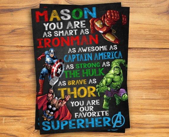 free chalkboard avenger birthday