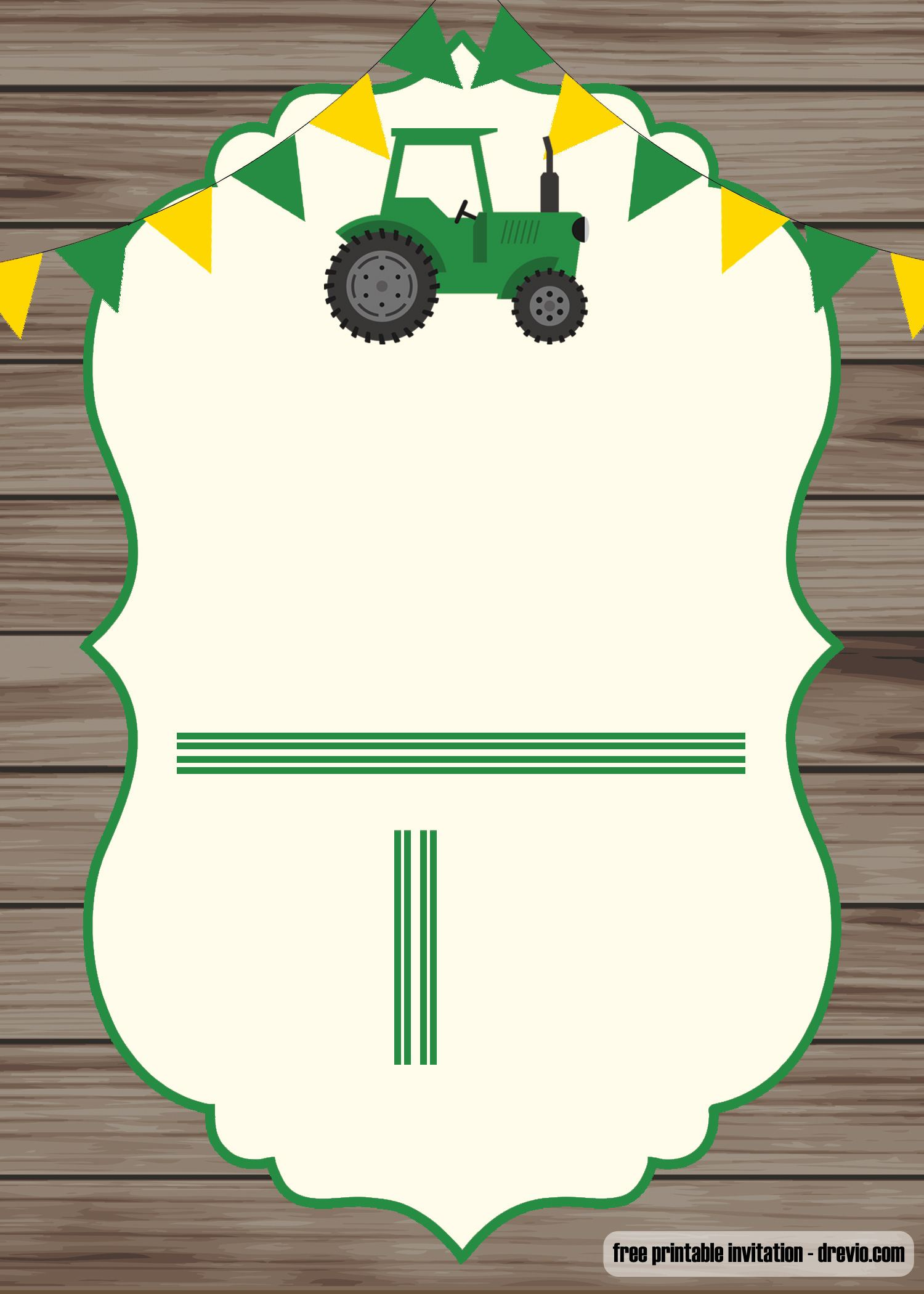 FREE Printable John Deere Invitation Template FREE Invitation Templates Drevio