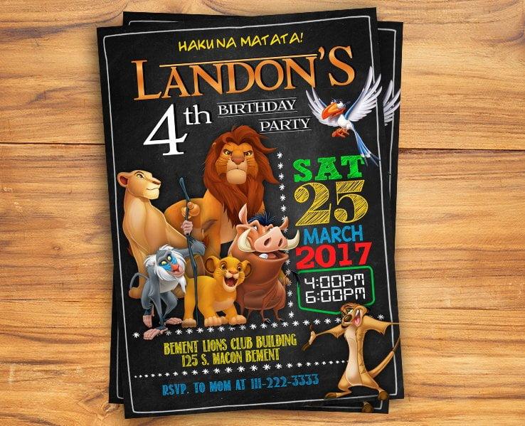 free printable lion king invitation