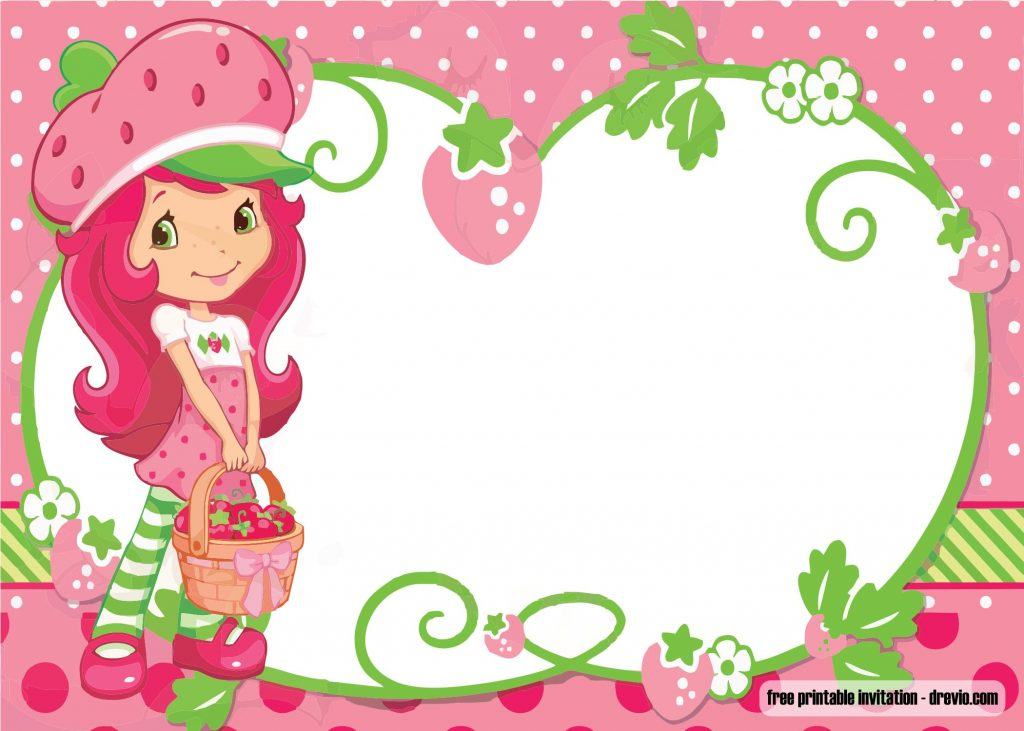 Strawberry Girl Cartoon Wallpaper Free Printable Strawberry Shortcake Invitation Template