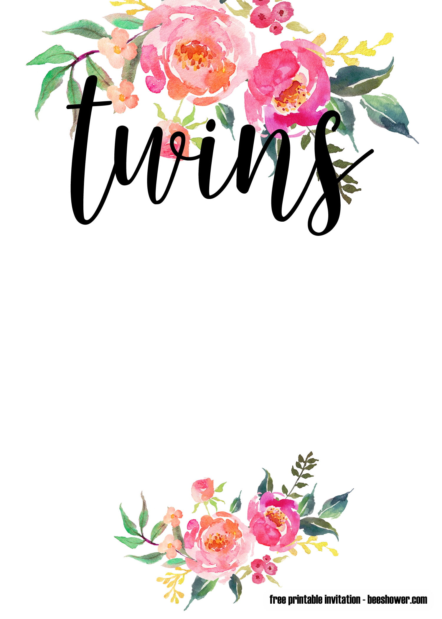 Free Printable Twin Baby Shower Invitations Templates