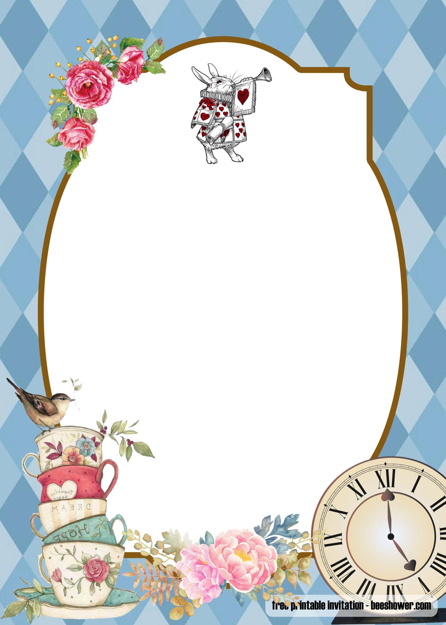 Free Alice In Wonderland Baby Shower Invitations Templates