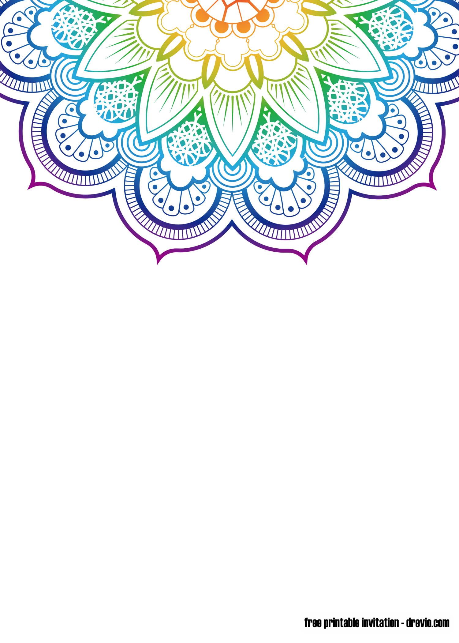 FREE Printable Mandala Yoga Invitation Templates FREE PRINTABLE Birthday Invitation Templates