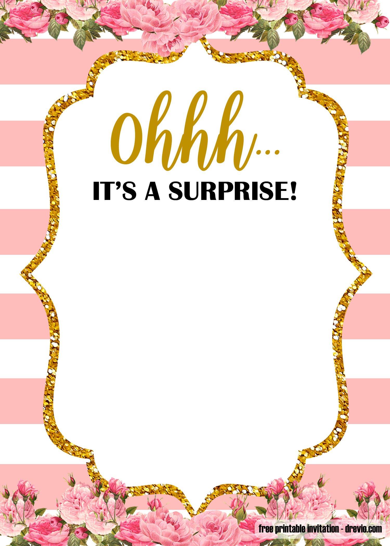 Free Printable Surprise Party Birthday Invitation