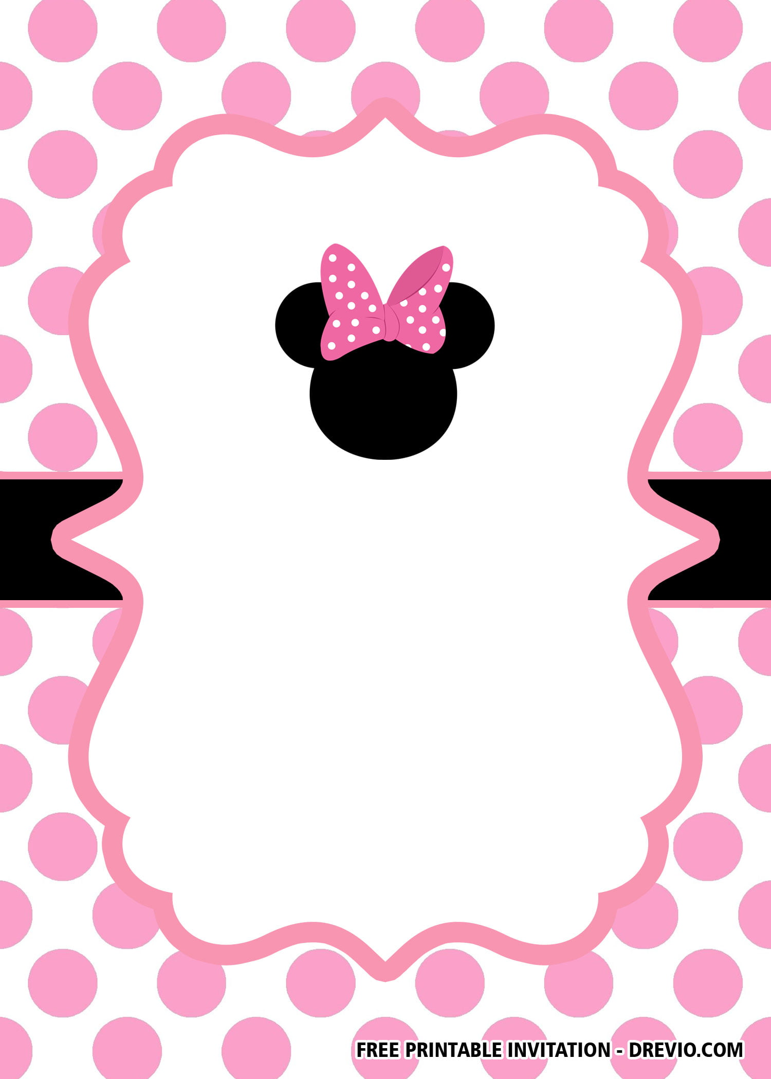 free minnie mouse head pink invitation