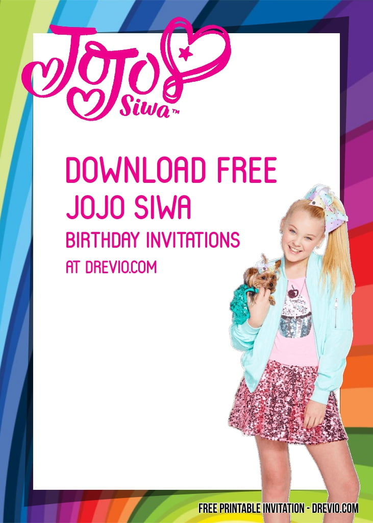 free jojo siwa birthday invitation