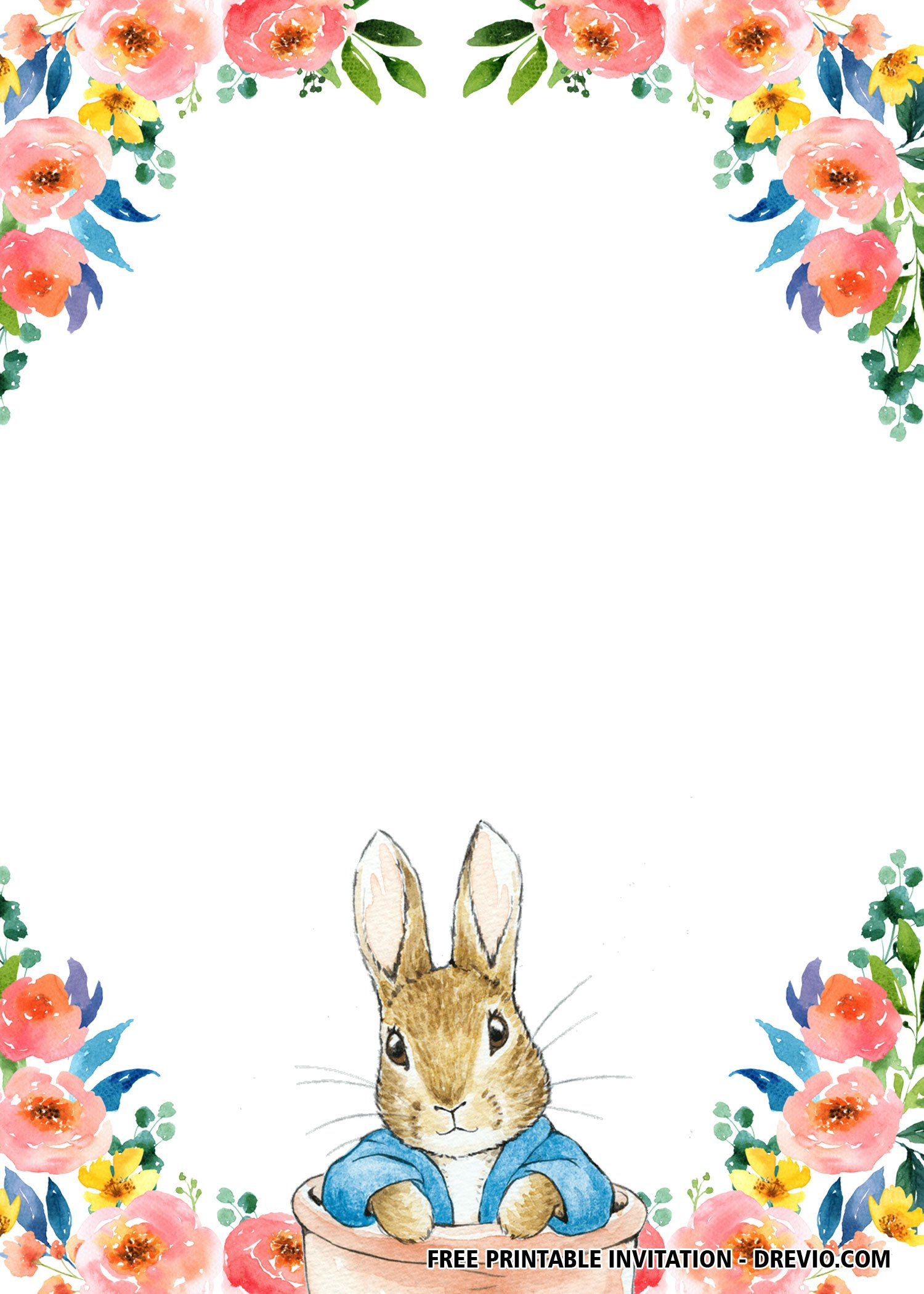 Free Printable Twin Rabbit Flower Invitation Templates