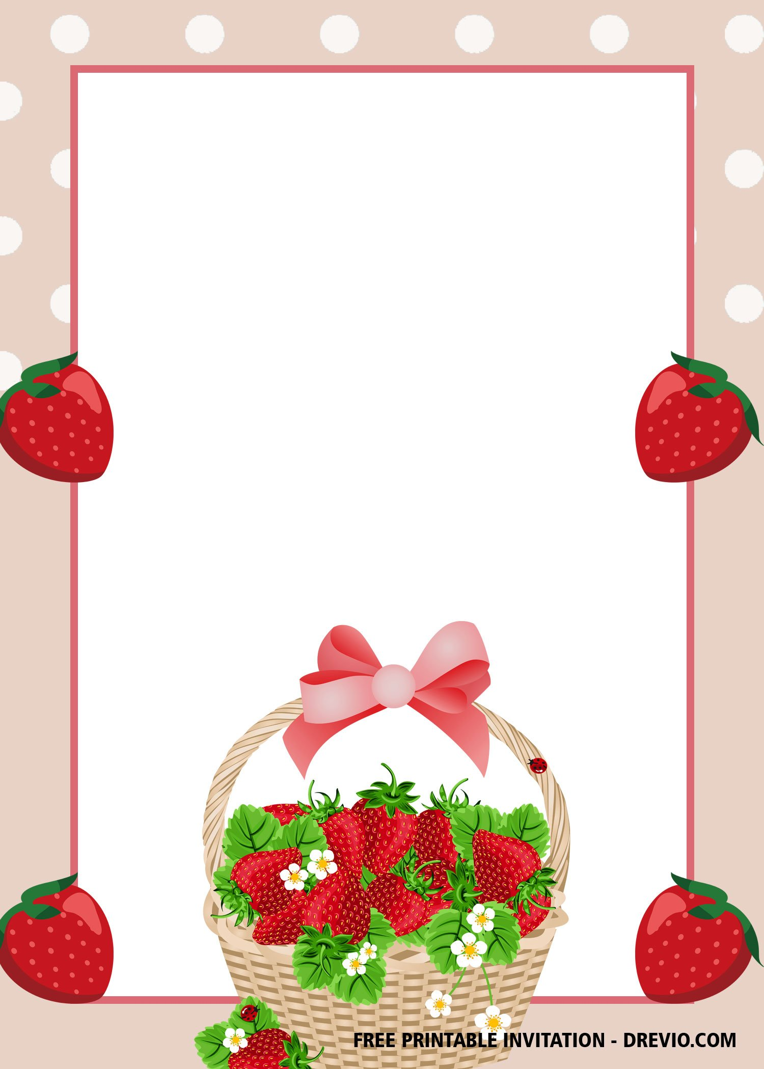 Free Printable Strawberry Invitation Templates