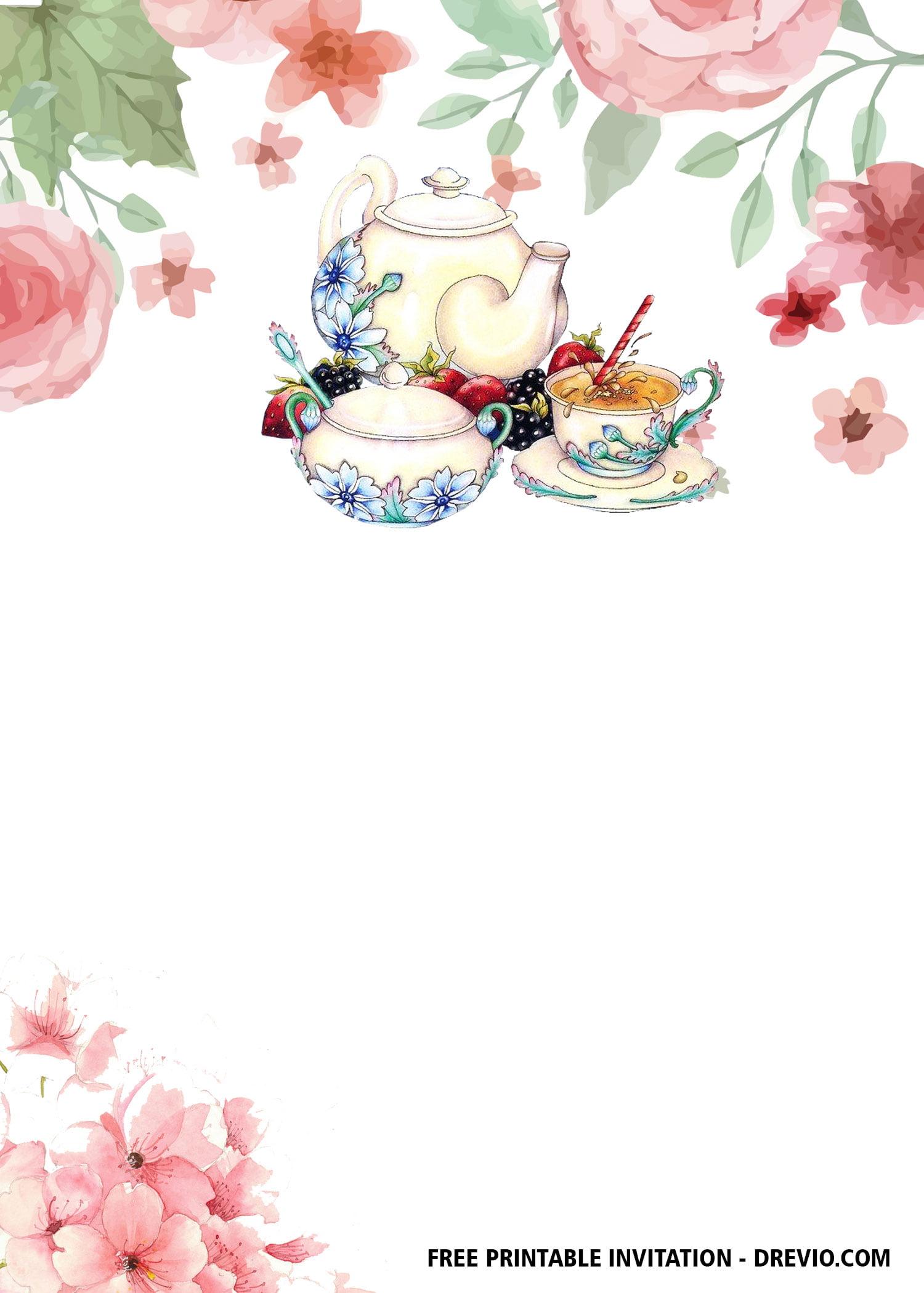 free floral tea party invitation