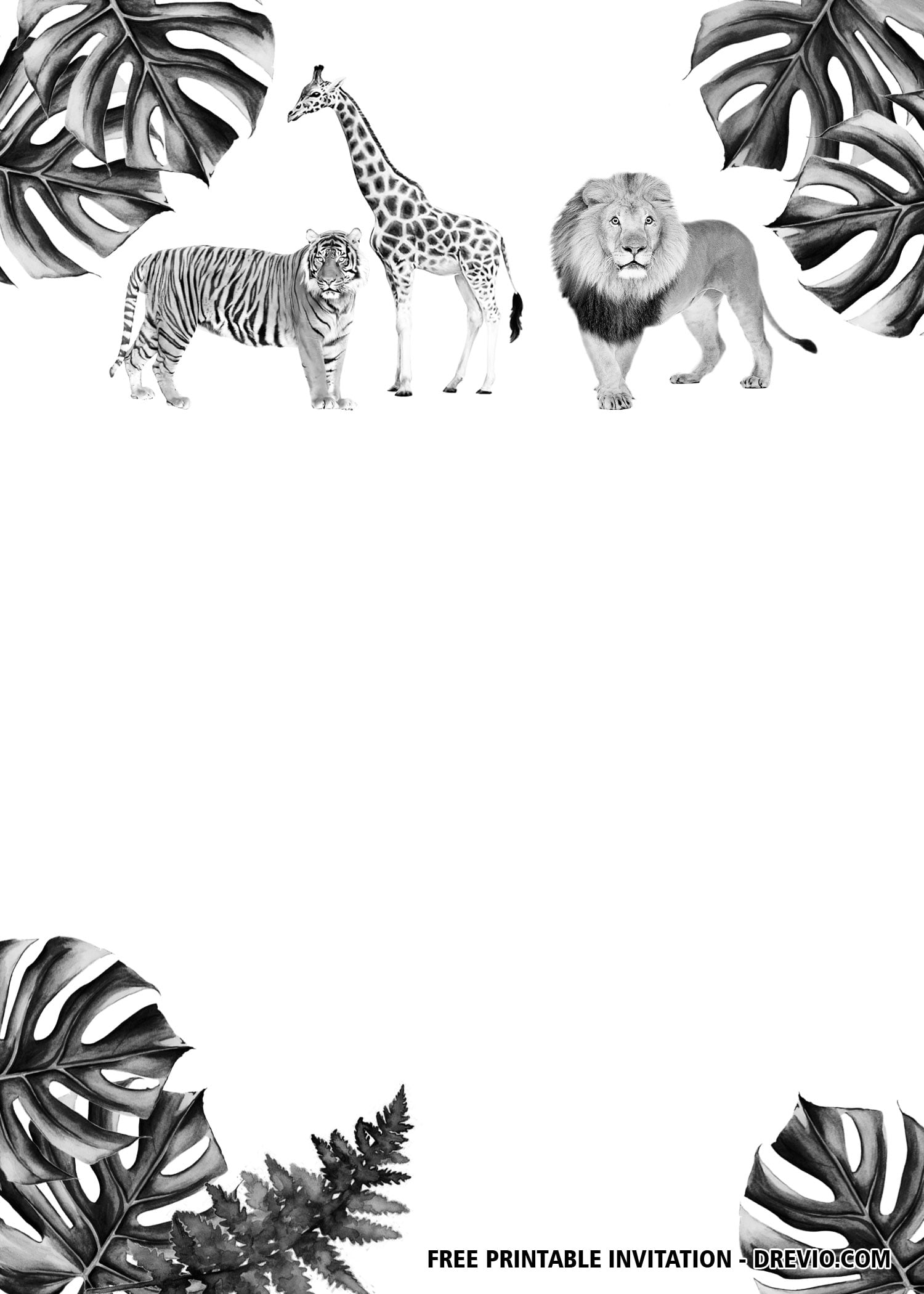 free jungle safari black and white