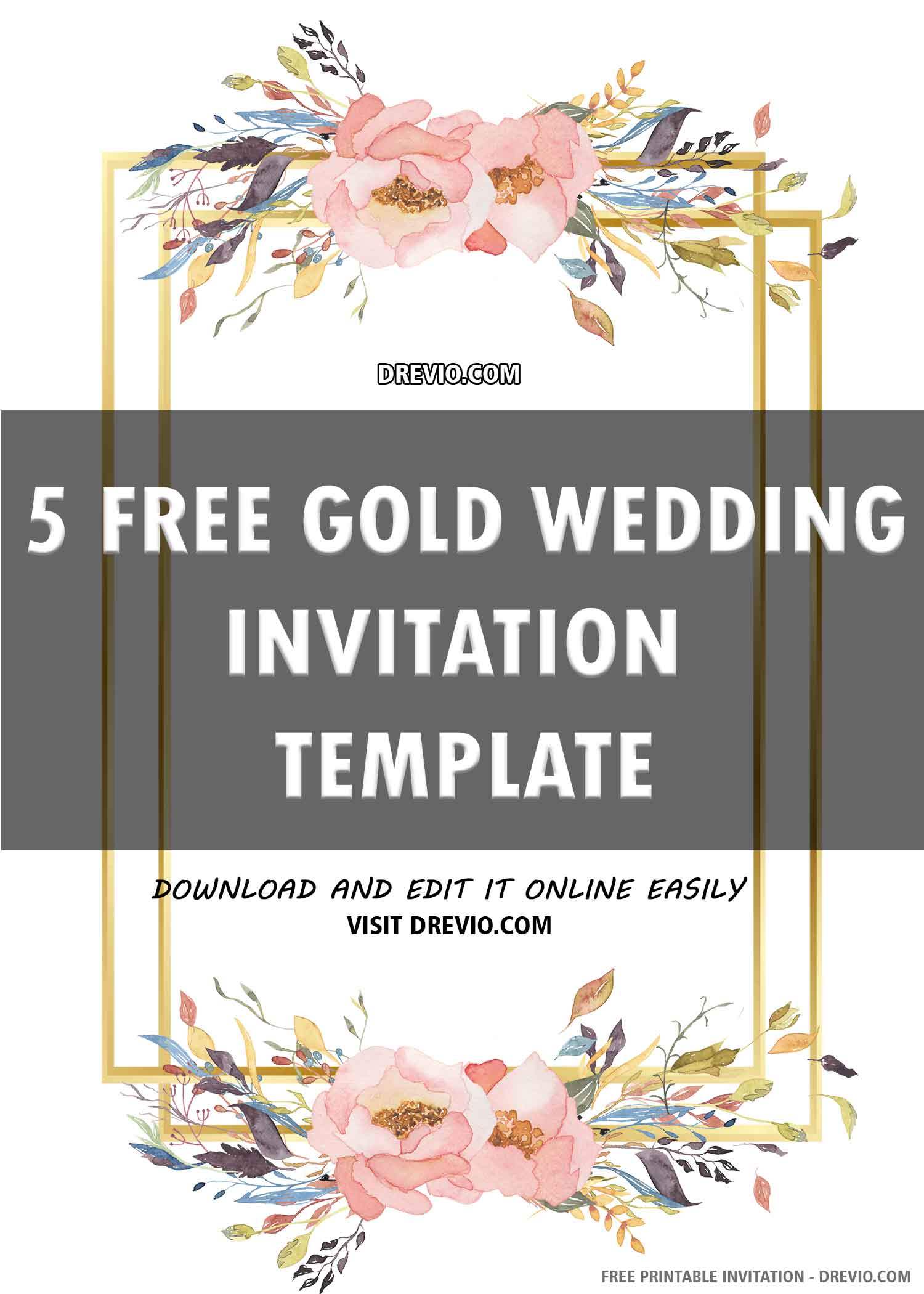 Free Printable Gold Wedding Invitation Template