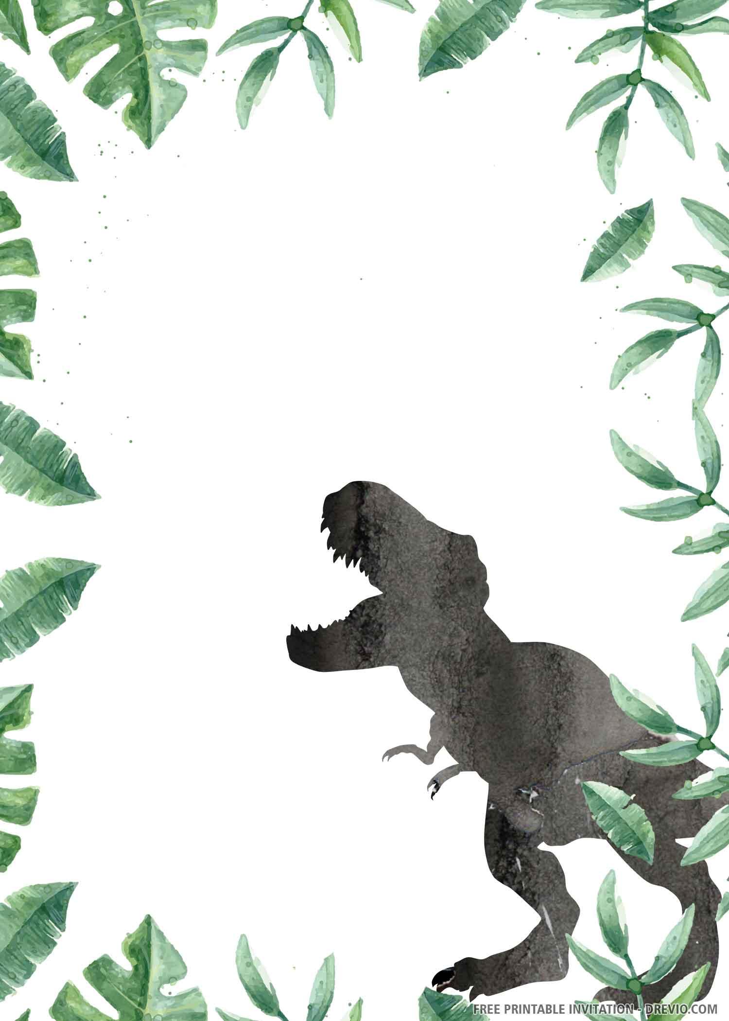 wild dinosaur birthday invitation