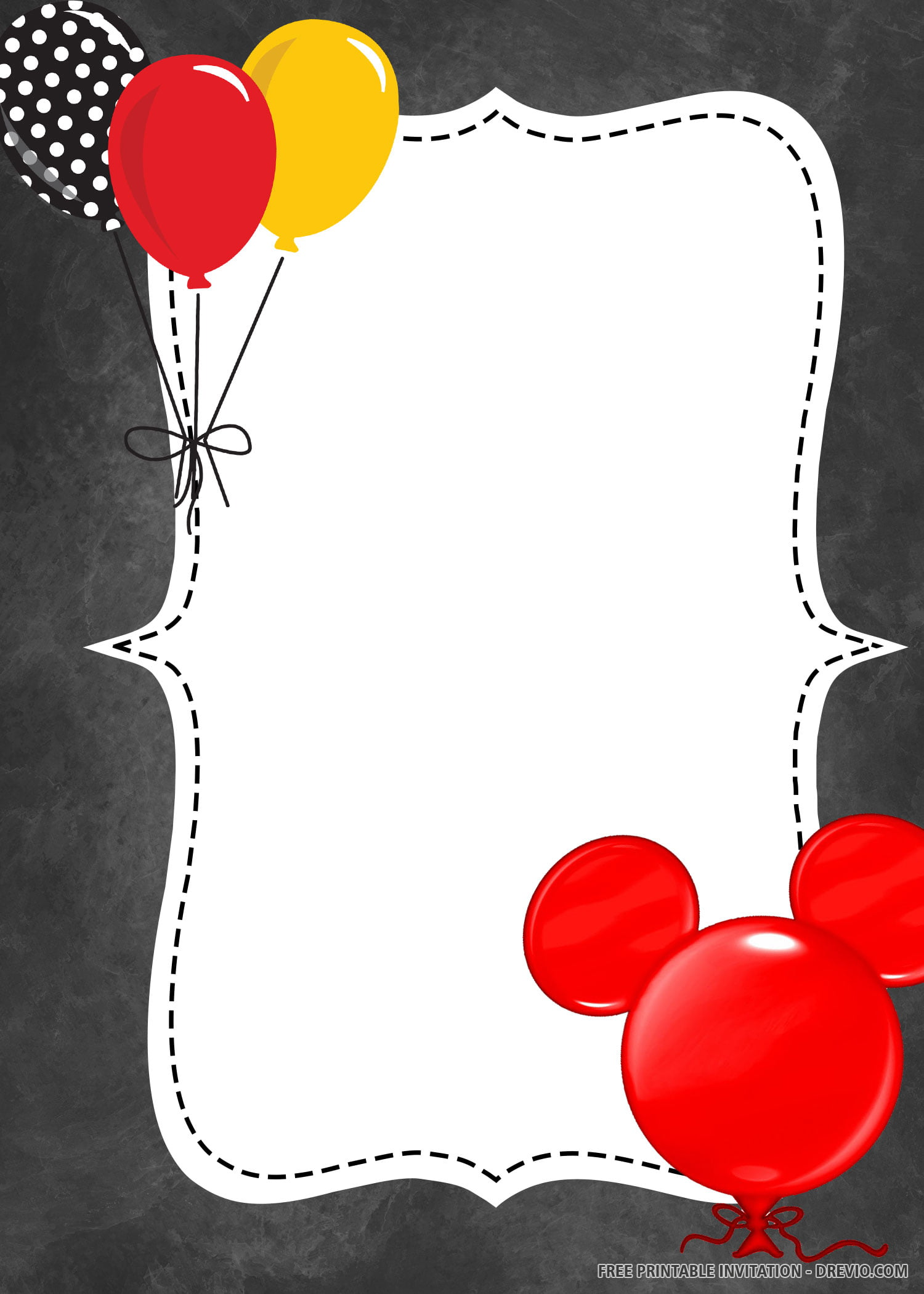 Free Printable Balloon Minnie Mouse Invitation Templates