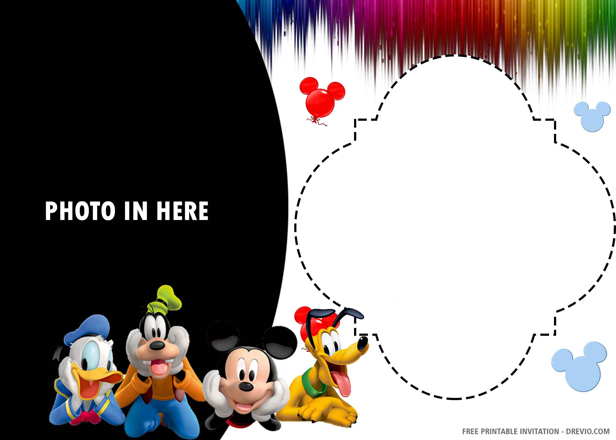 Free Printable Baby Mickey Mouse Birthday Invitation