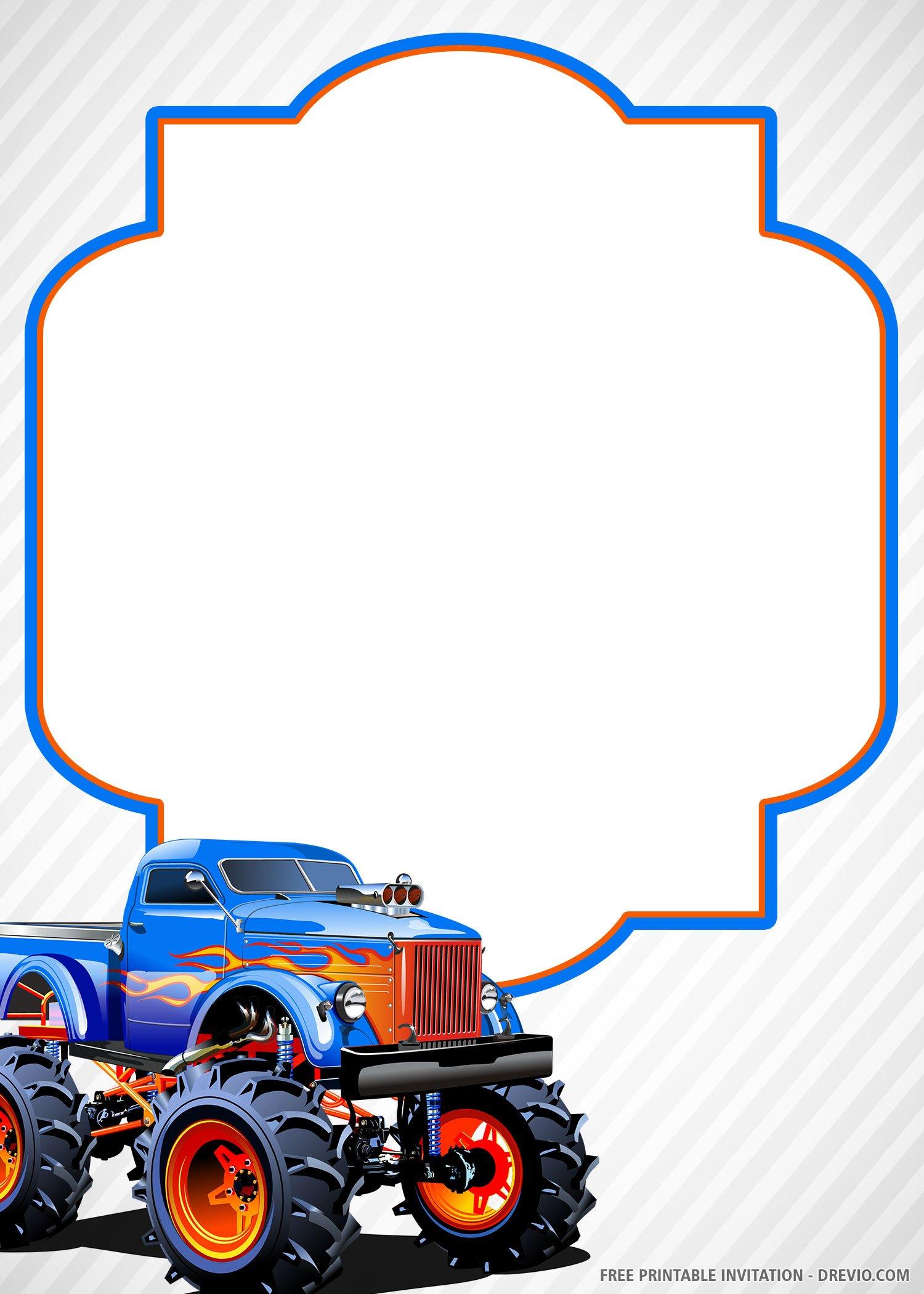 Free Printable Monster Truck Invitation Templates
