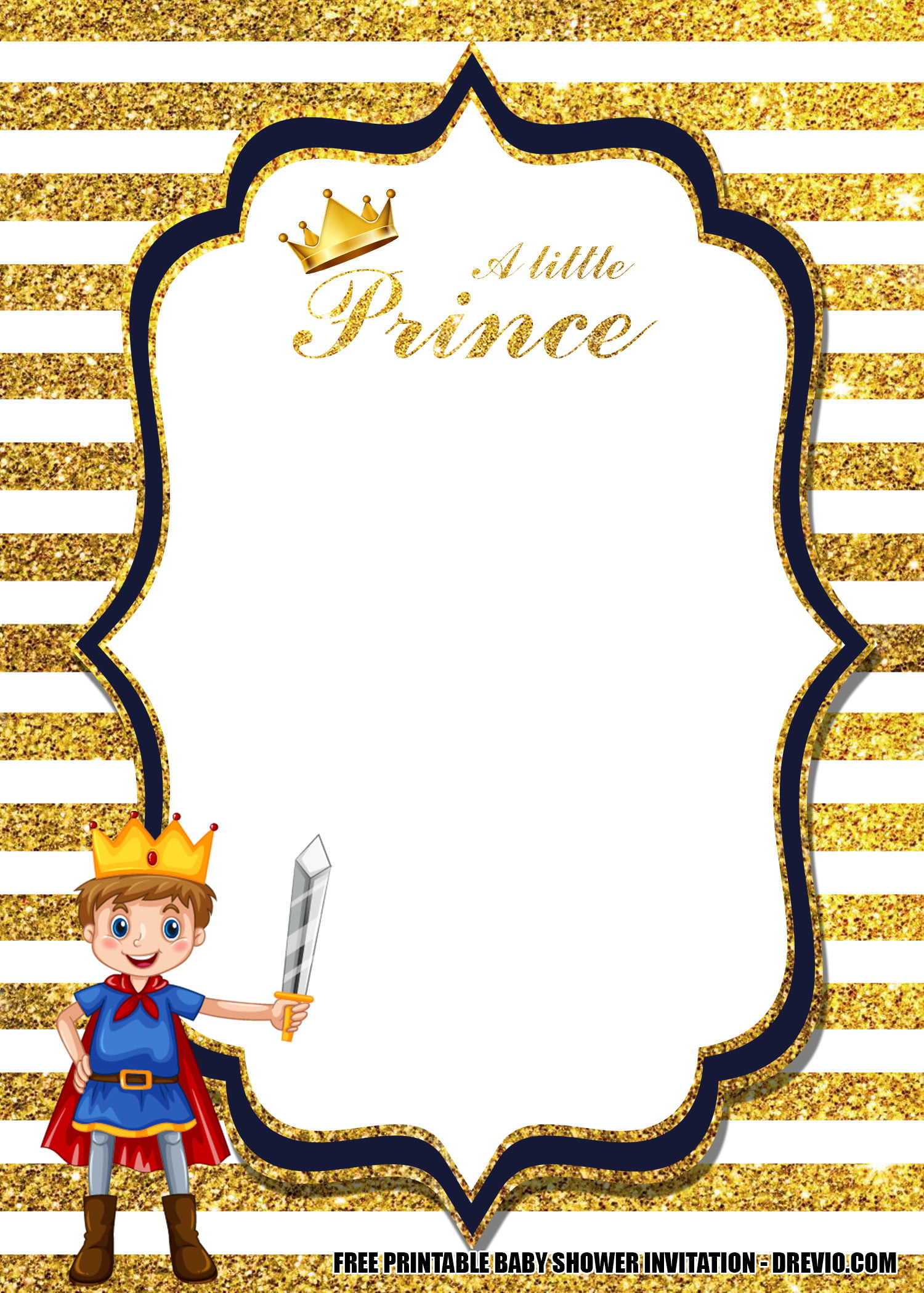 free prince baby shower invitation