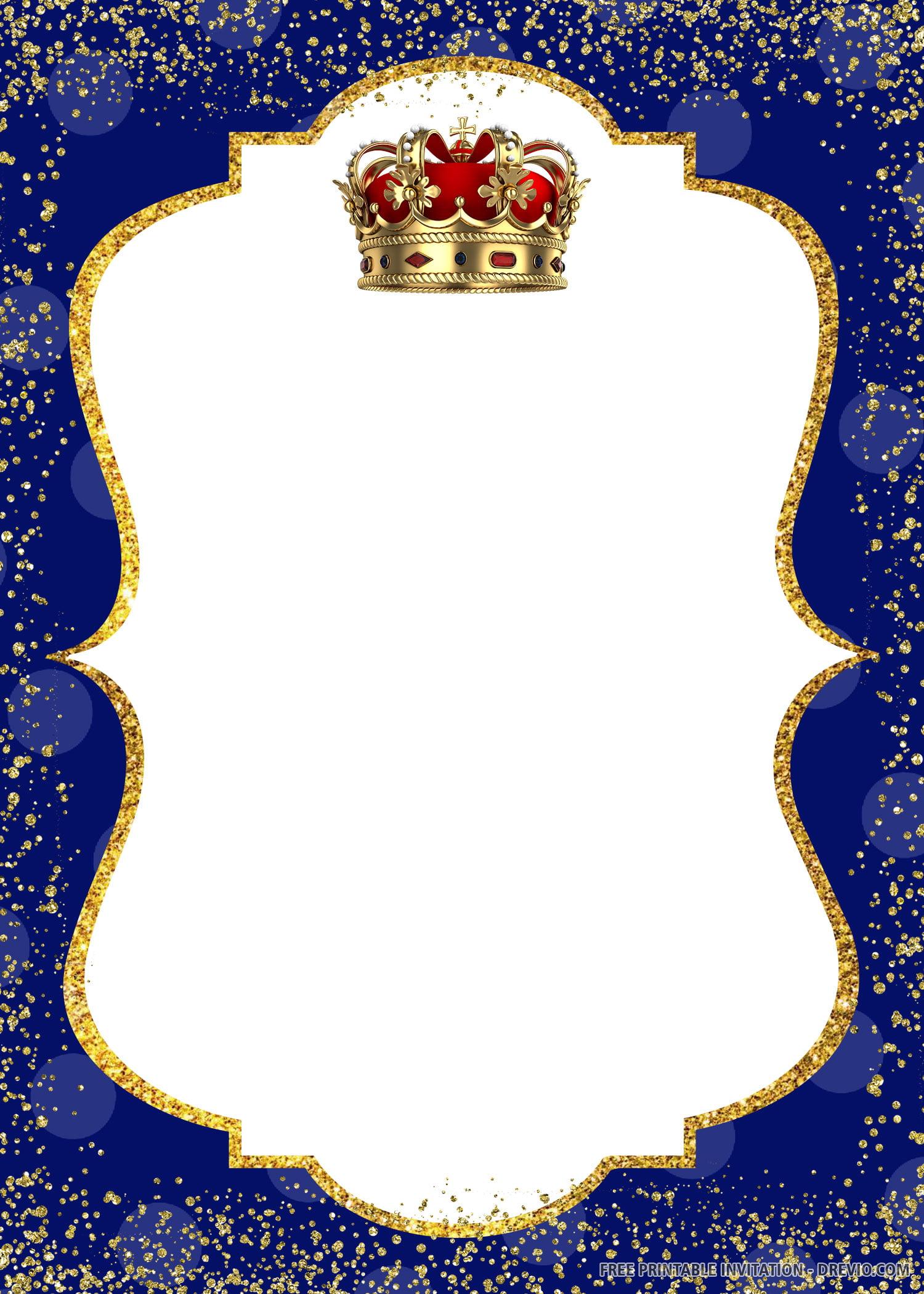 Free Printable Crown Prince Invitation Templates