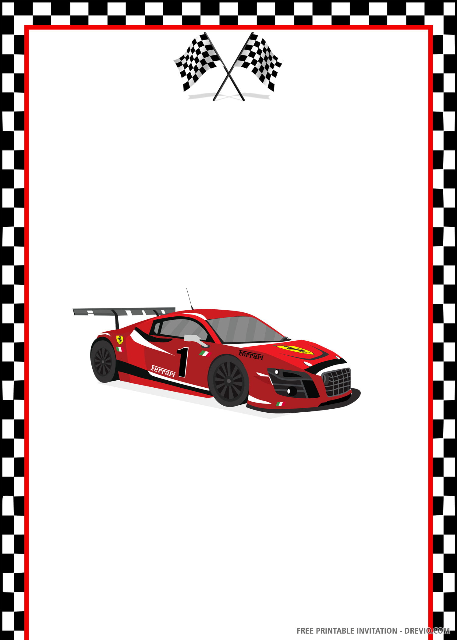 Free Printable Racing Car Birthday Invitation Template