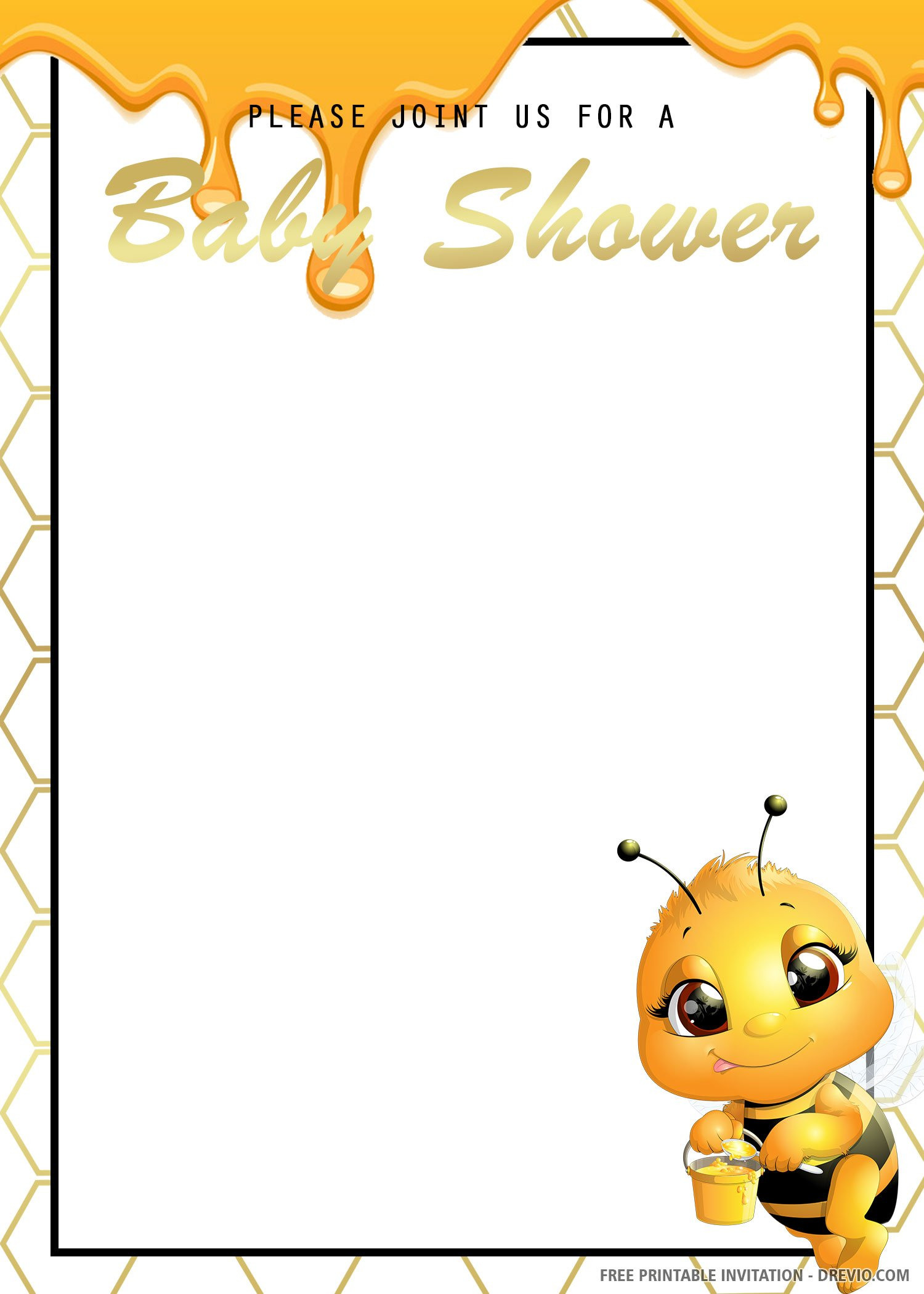 Free Printable Bee Honey Baby Shower Invitation