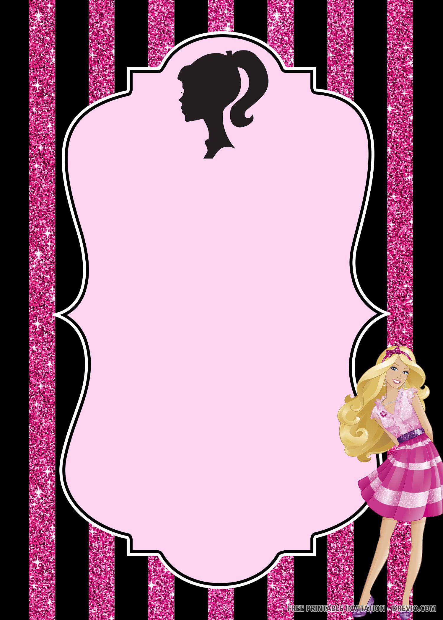Free Printable Barbie Birthday Invitation Template