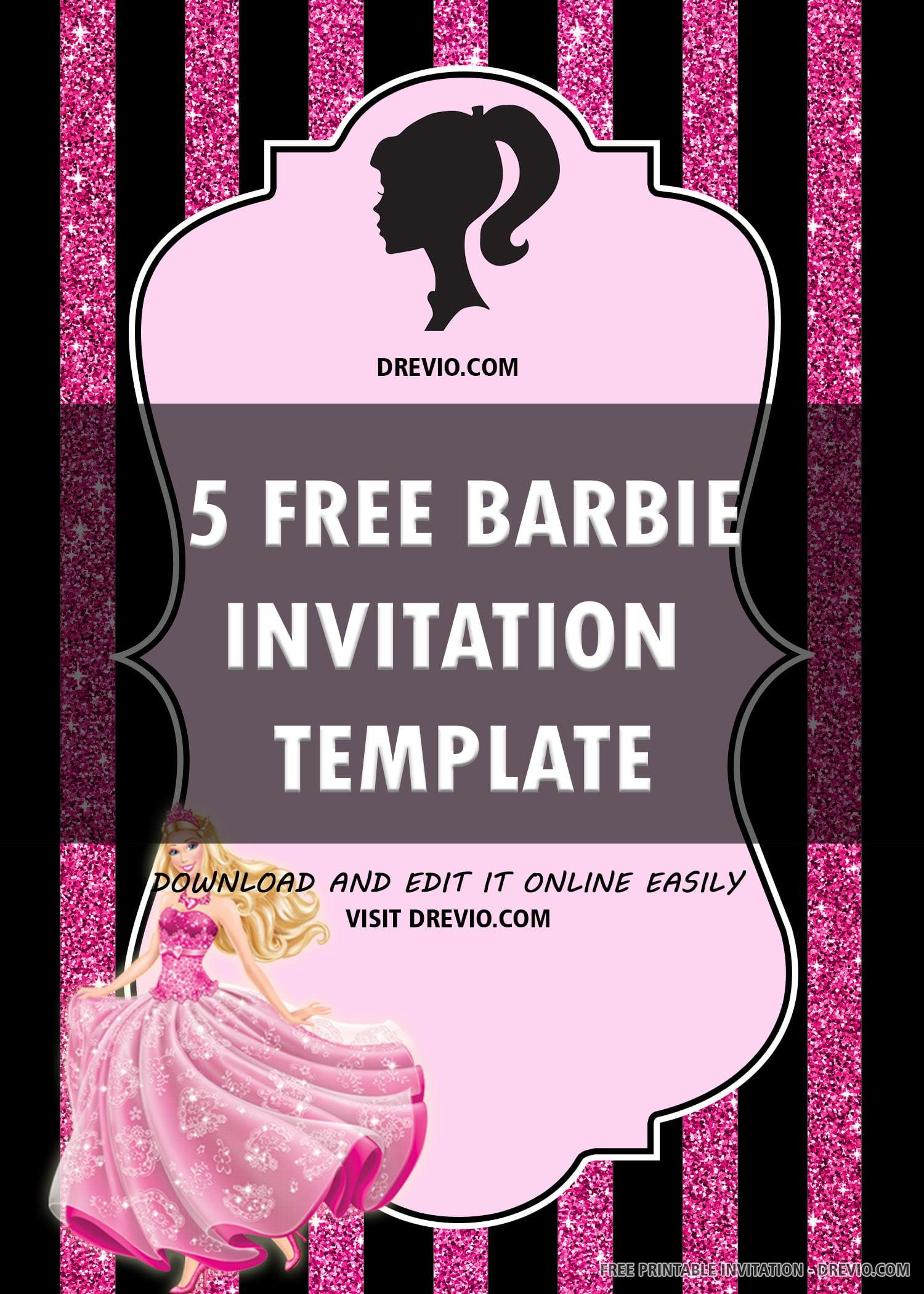 barbie birthday invitation template