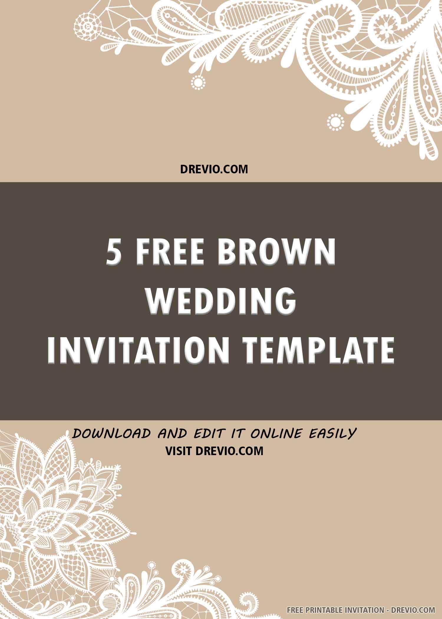 Free Printable Brown Themed Wedding Invitation