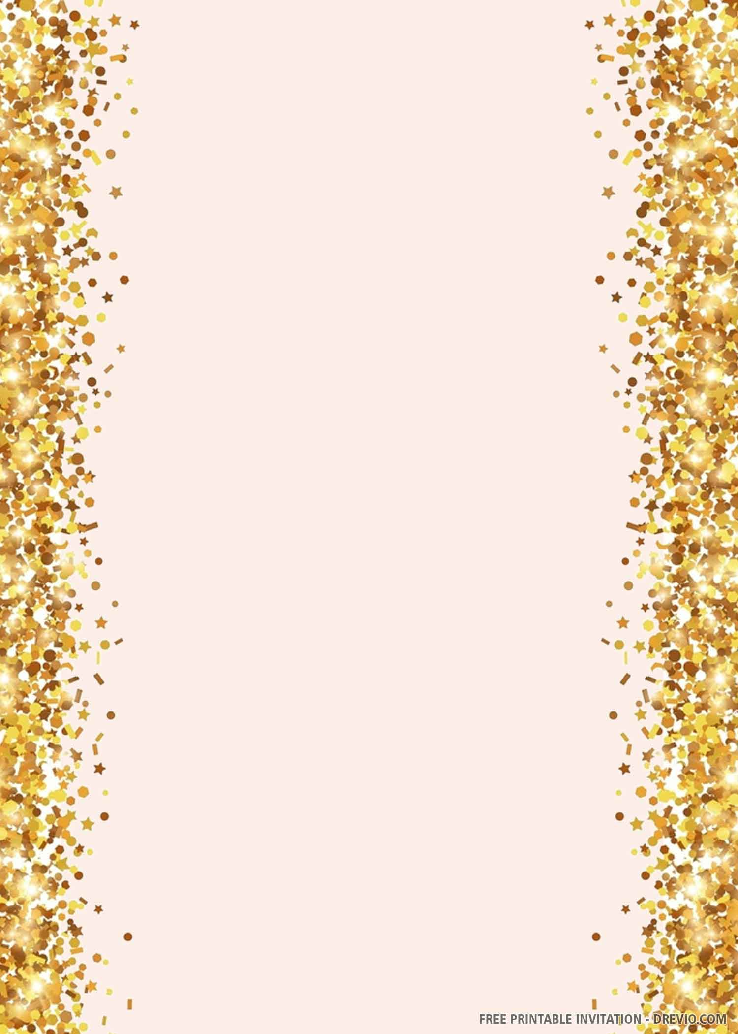 Free Printable Pink And Gold Wedding Invitation