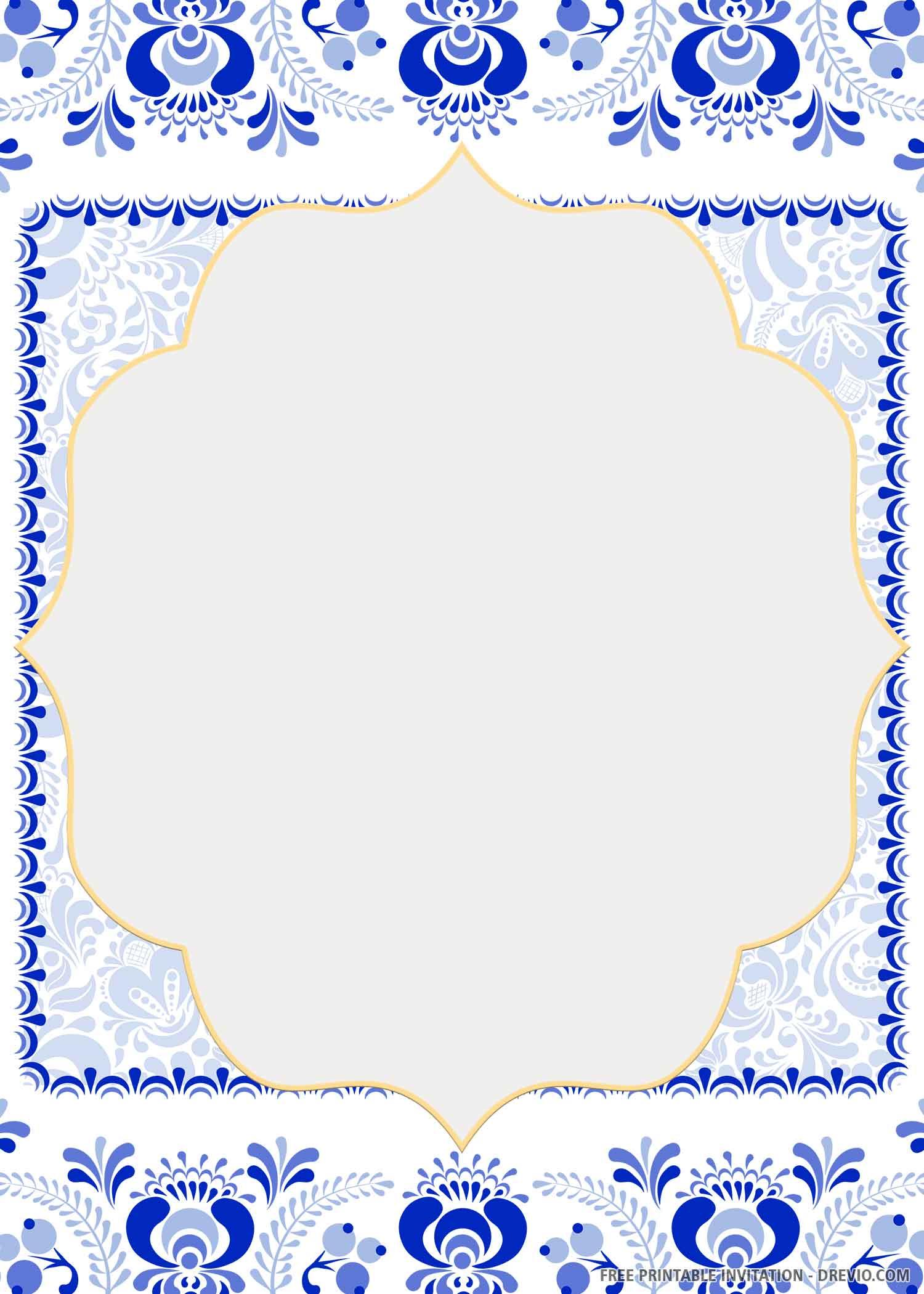 Free Printable French Blue Tile Wedding Invitation