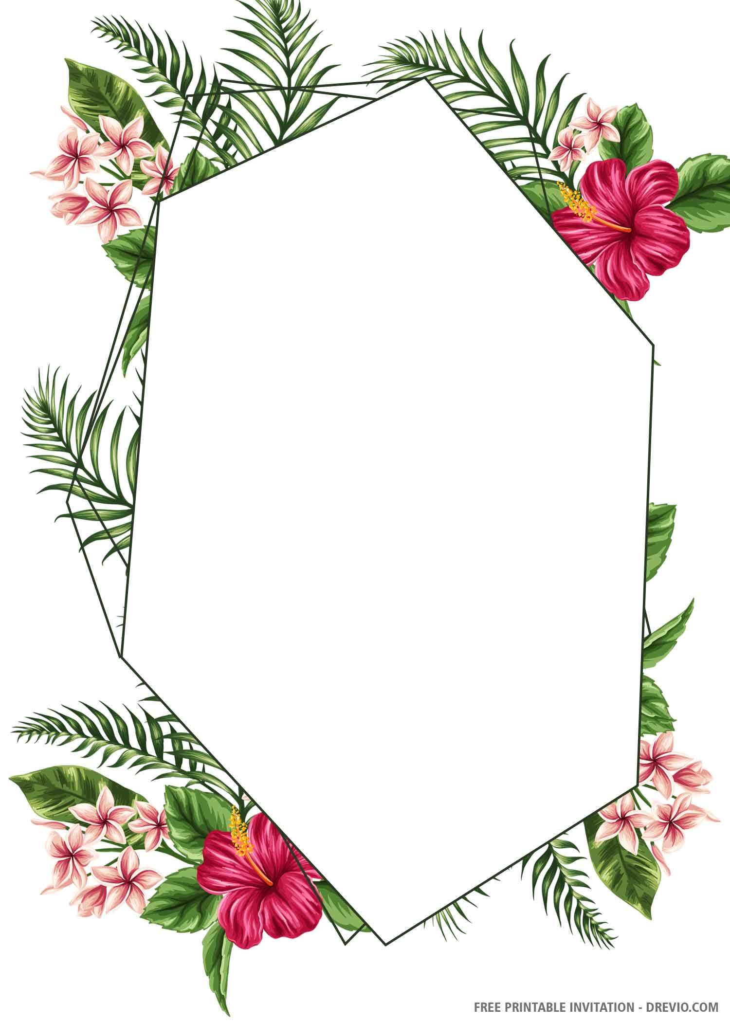 Free Printable Tropical Hexagon Wedding Invitation