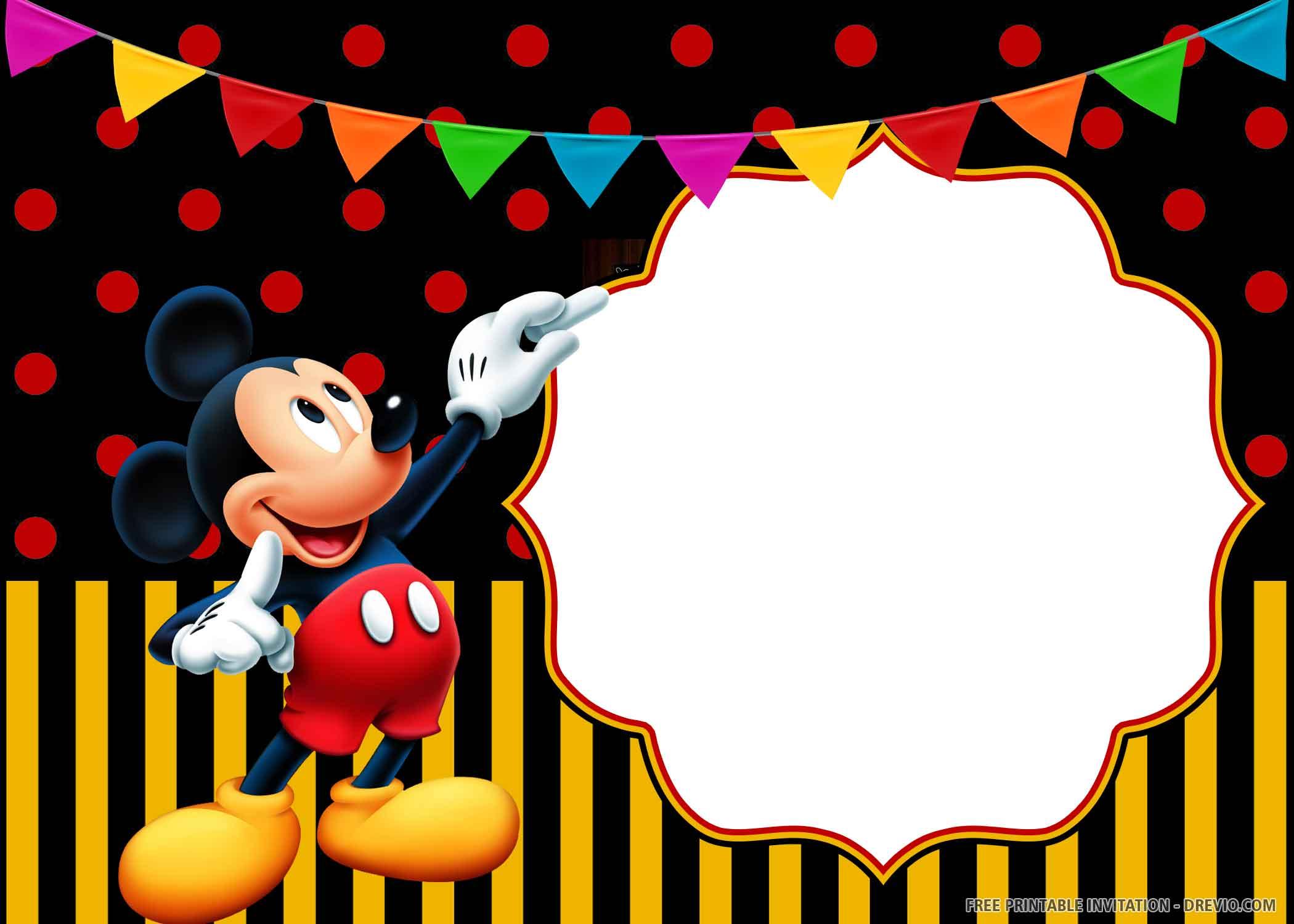 Free Printable Cheerful Mickey Mouse Birthday