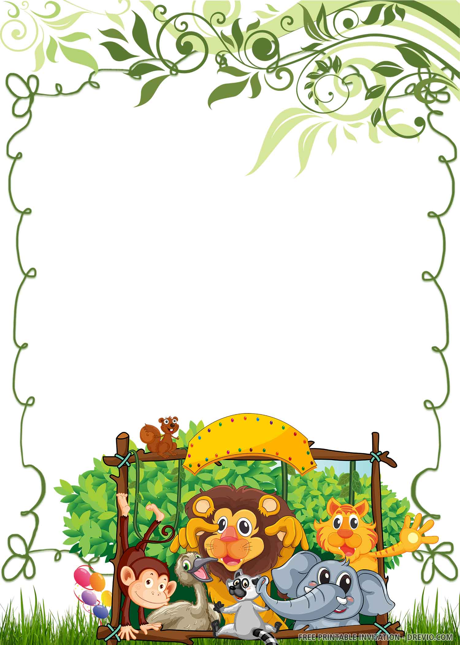 wild one birthday invitation jungle