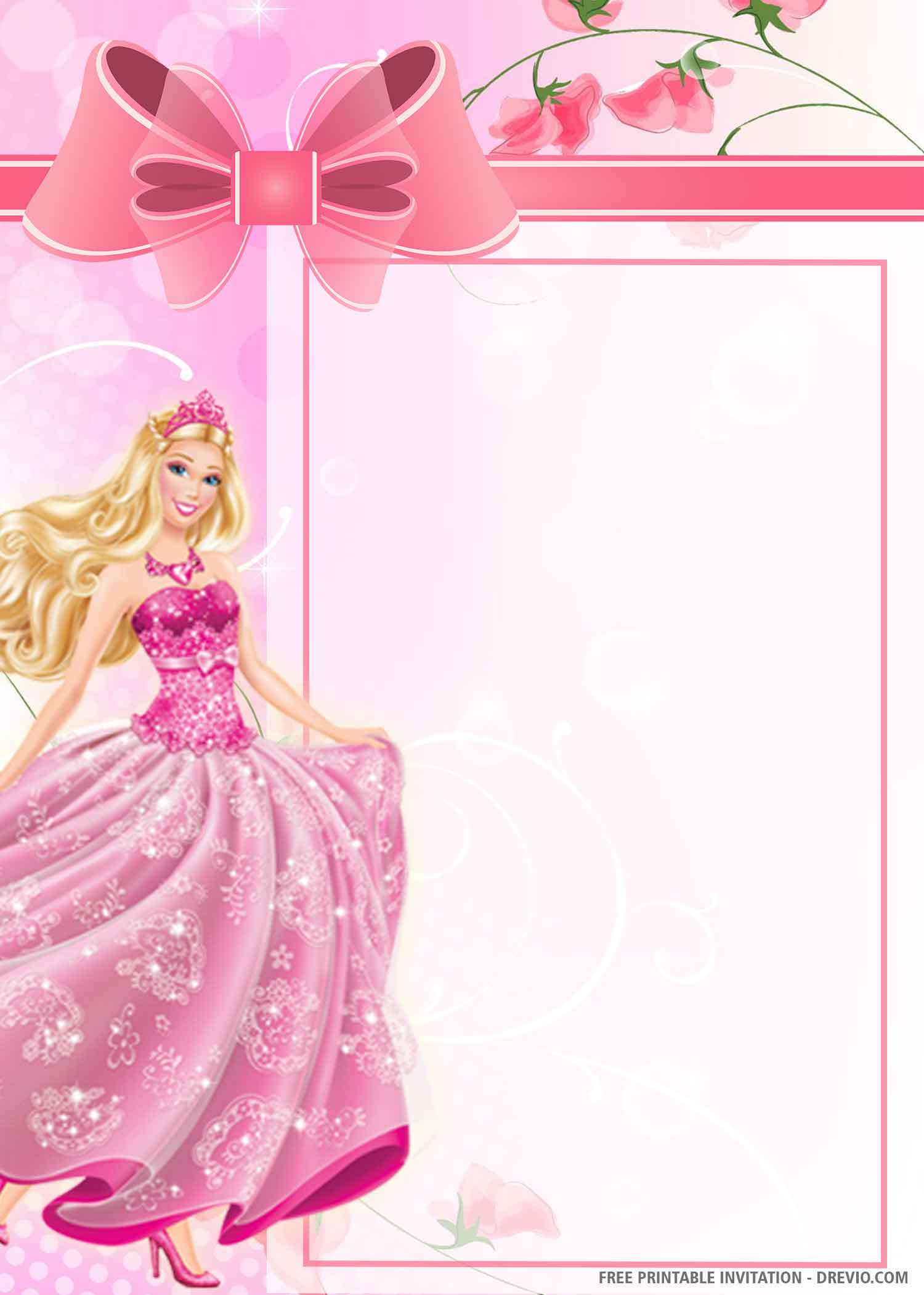 Free Printable Barbie Dream House Birthday Invitation