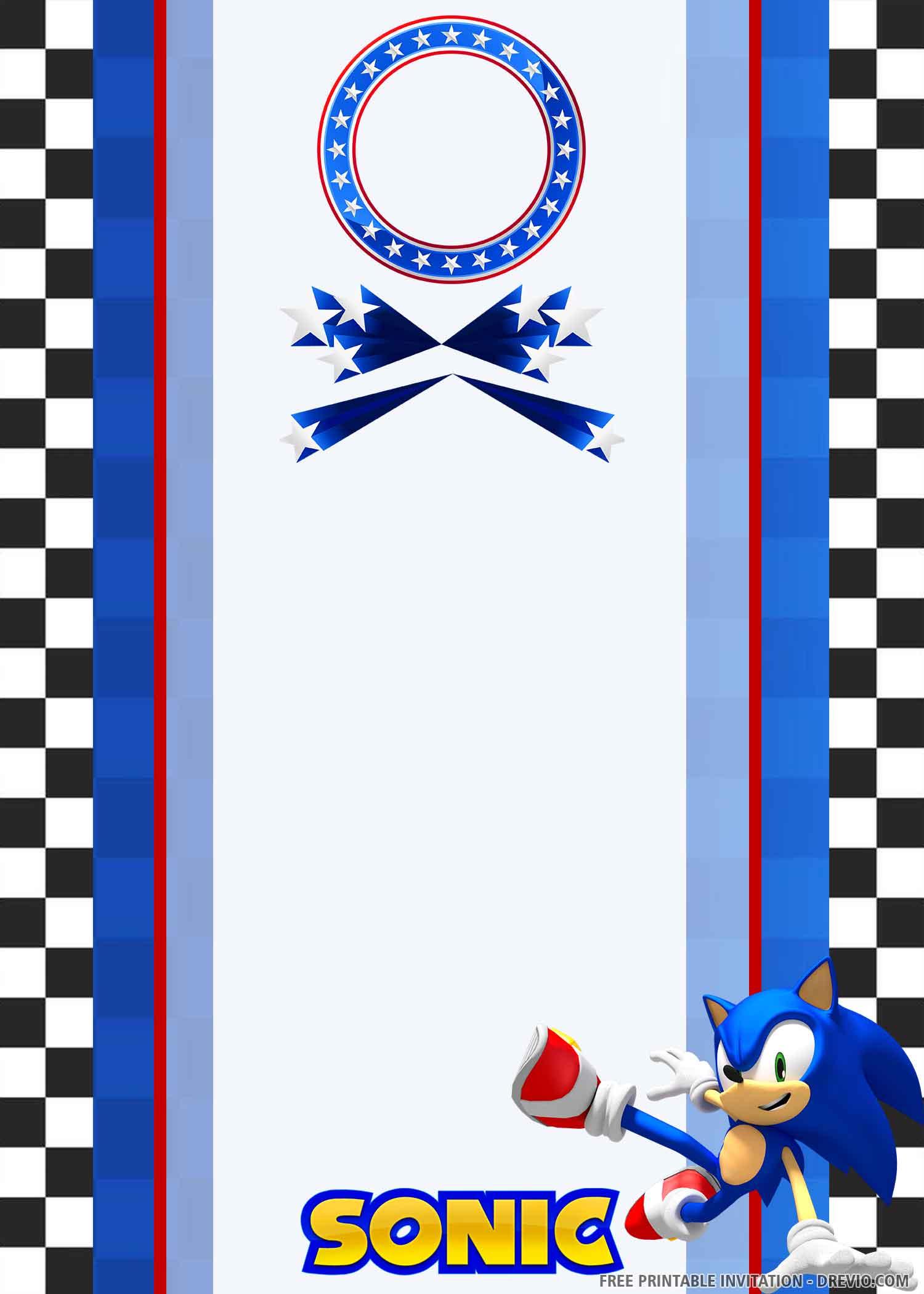 Free Printable Digital Sonic Birthday Invitation