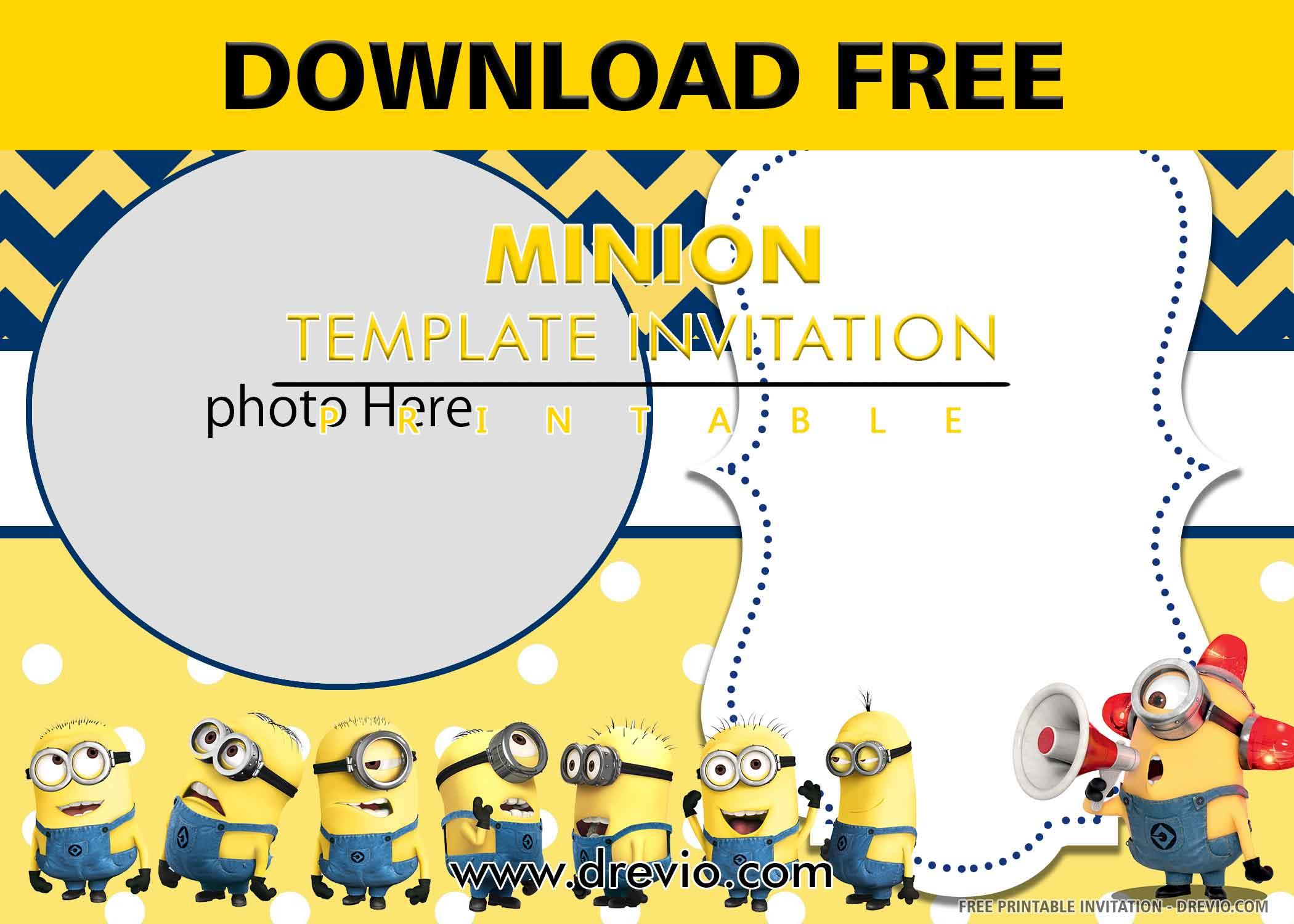 minion invitation card watermark
