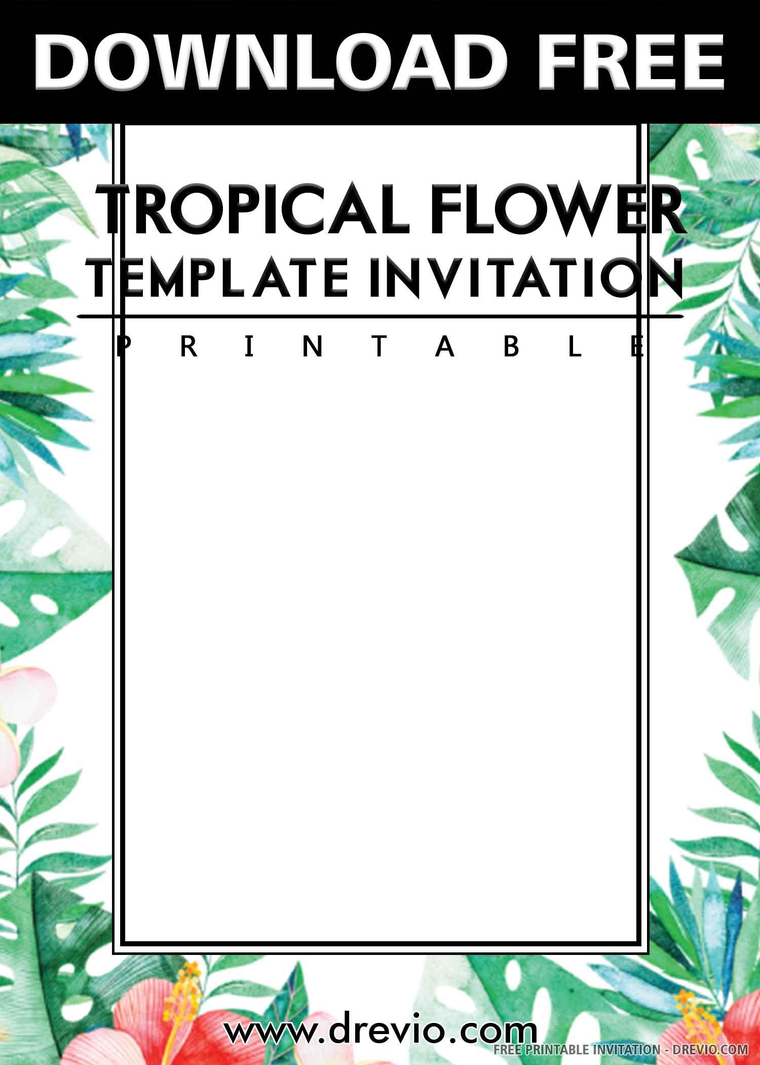 Free Printable Watercolor Flamingo Tropical Flowers
