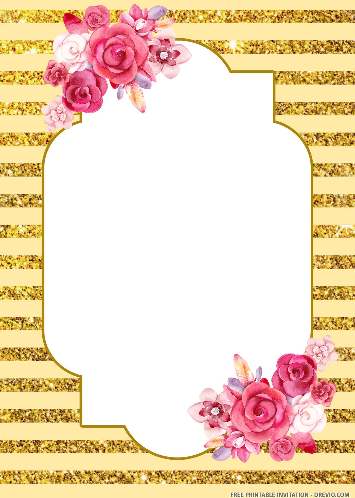 Free Printable Glitter Gold Invitation Templates