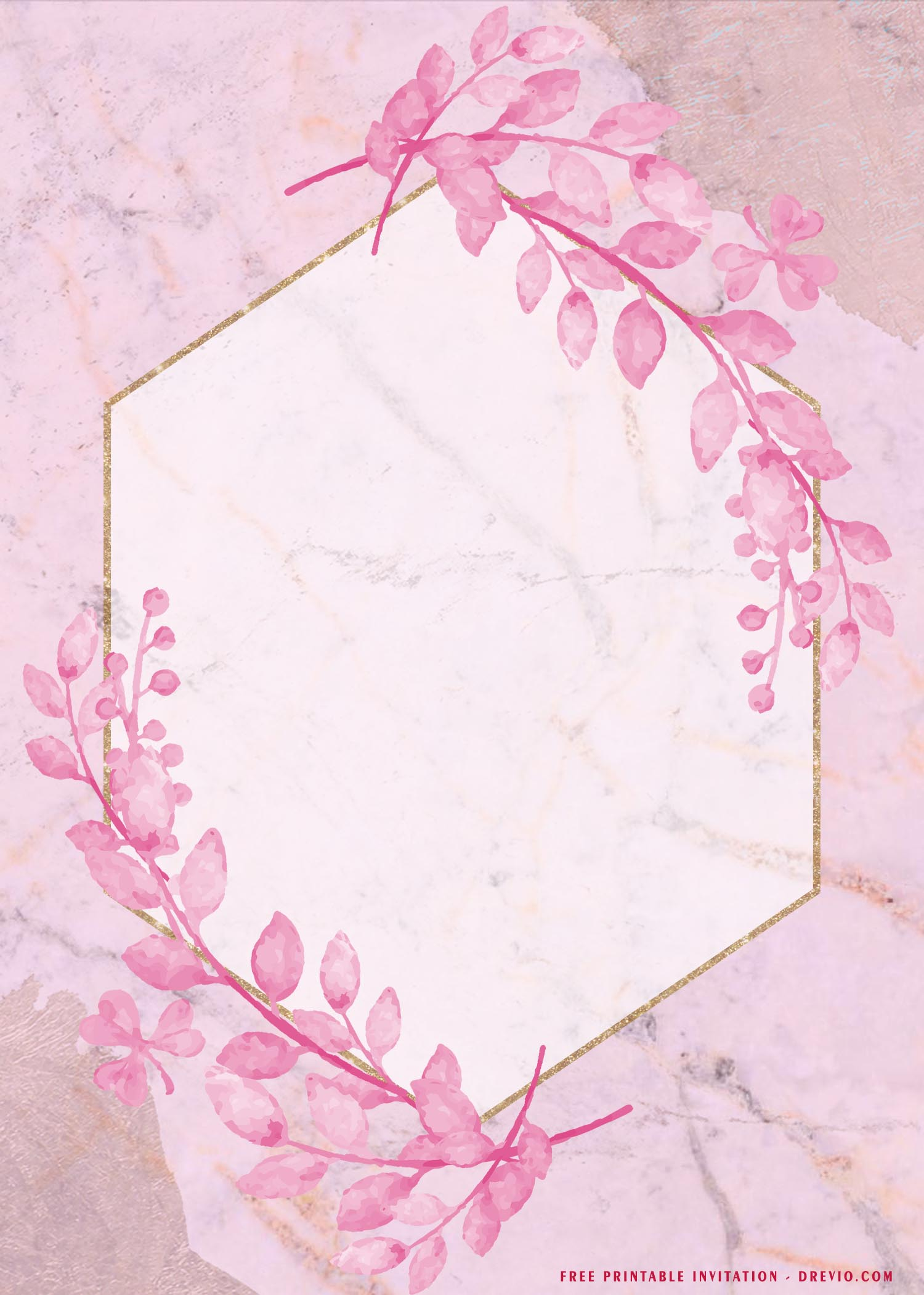 watercolor pink flower gold frame