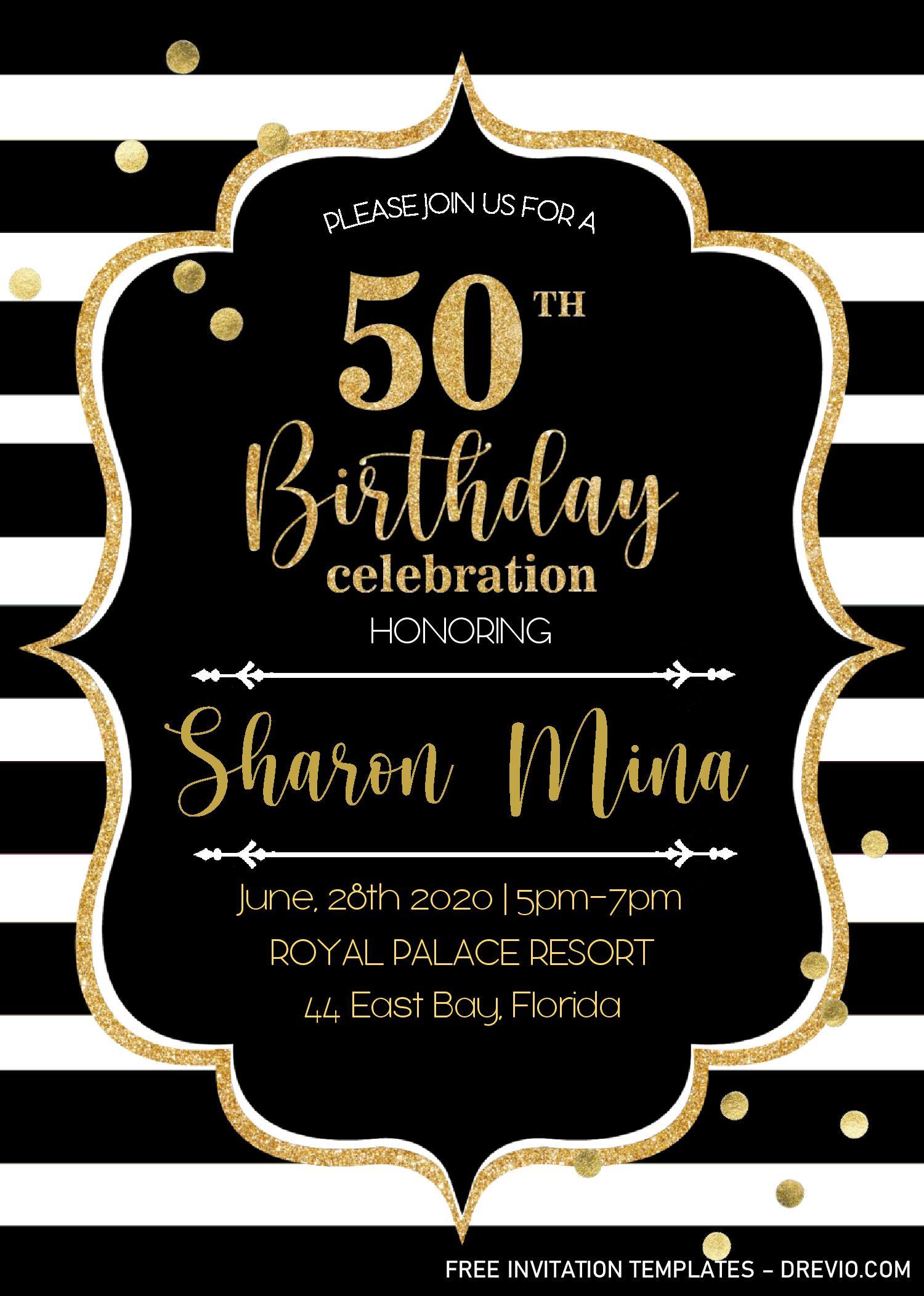 black and gold 50th birthday invitation