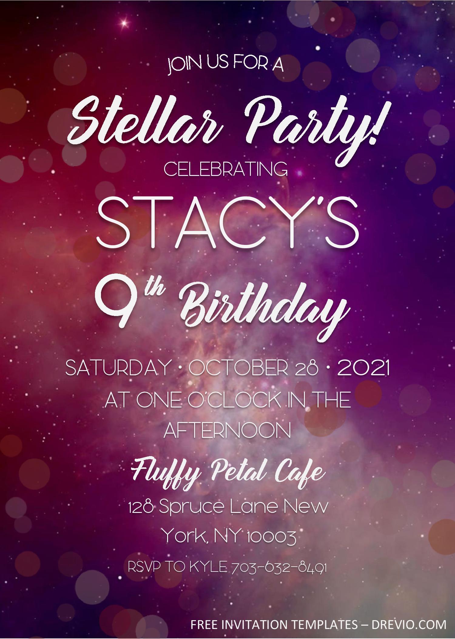 galaxy birthday invitation templates